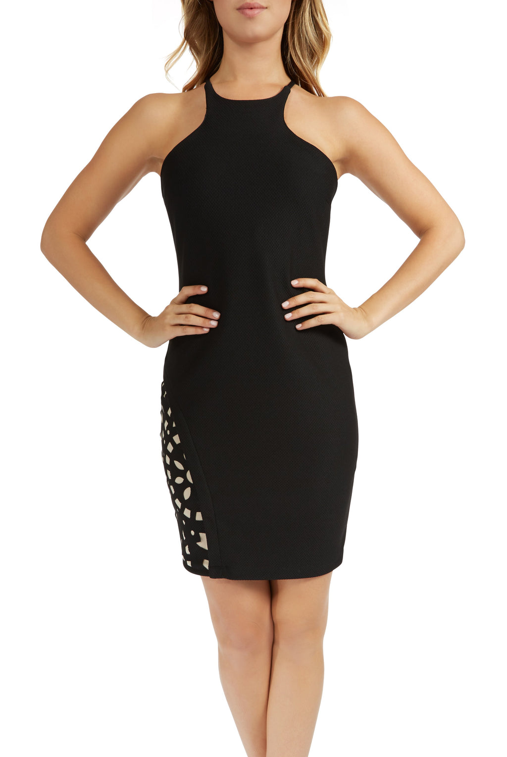 Teeze Me | Sleeveless Halter Top High Neck Honeycomb Cutout Fitted Dress | Black