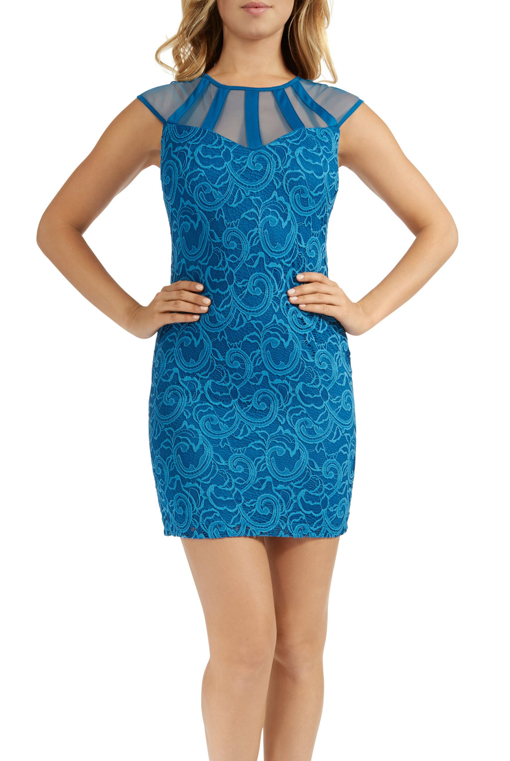 Teeze Me | Cap Sleeve Illusion Top Lace Overlay BodyCon Dress  | Lagoon