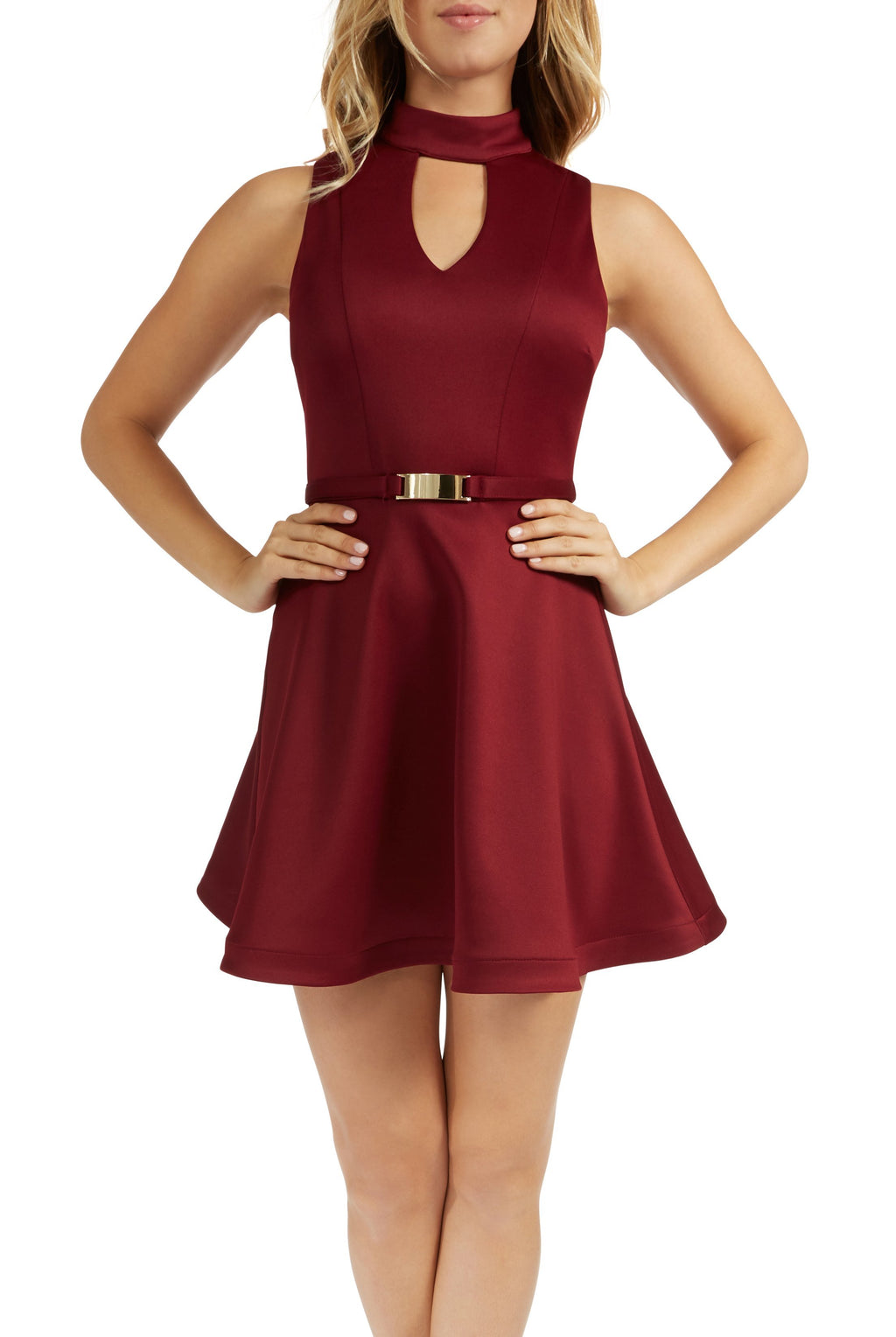 Teeze Me | Sleeveless High Neck Belted Fit and Flare Dress  | Burgundy