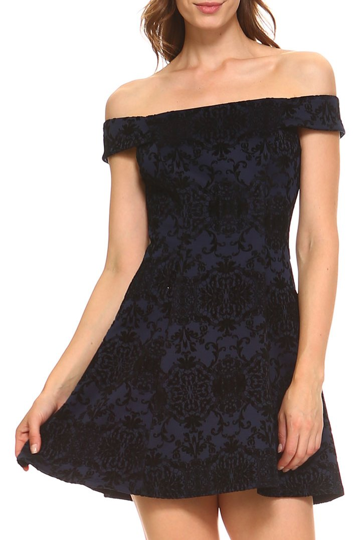 Teeze Me | Off-The-Shoulder Damask Skater Dress | Indigo