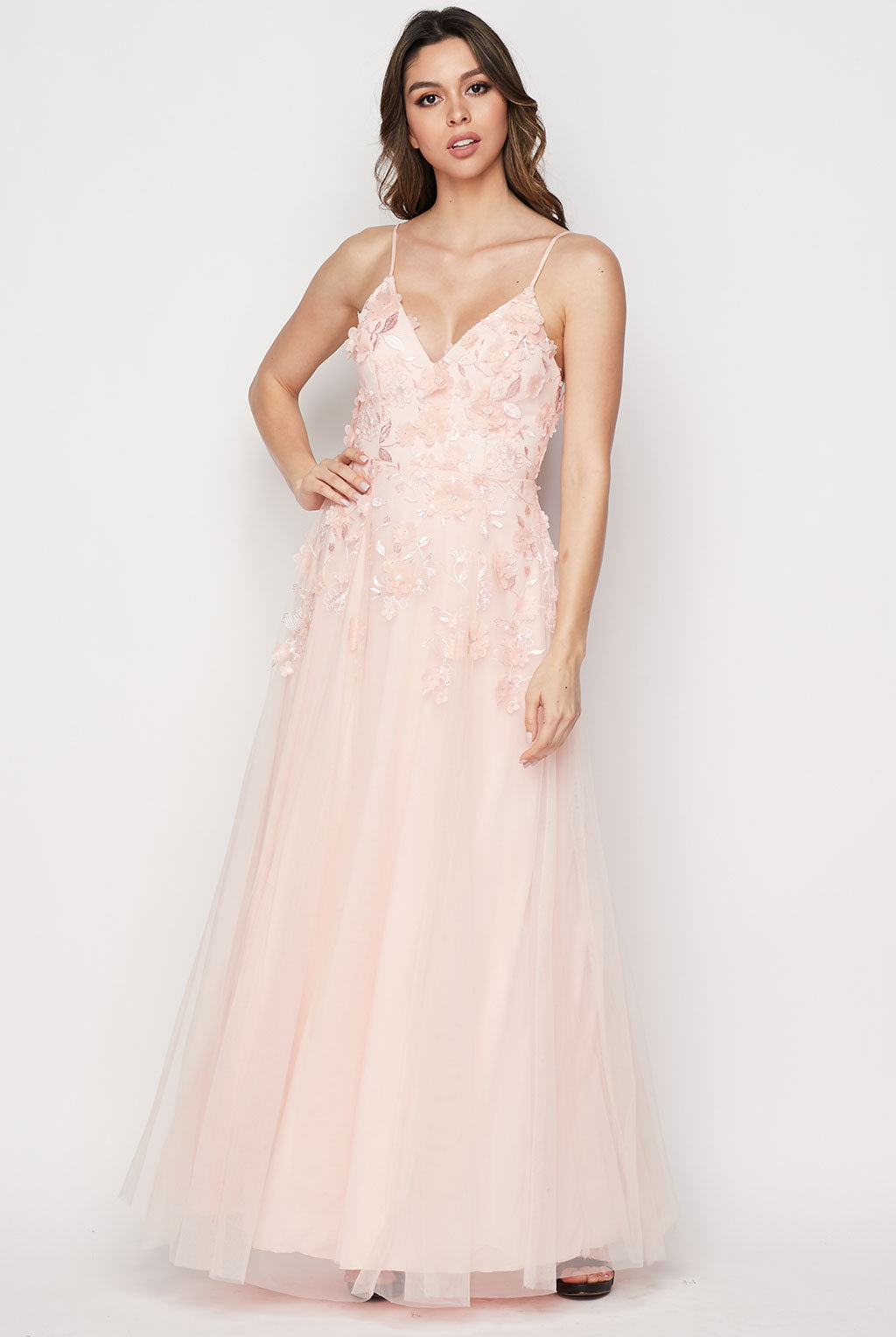 Teeze Me | Floral Applique Fit And Flare Gown | Blush