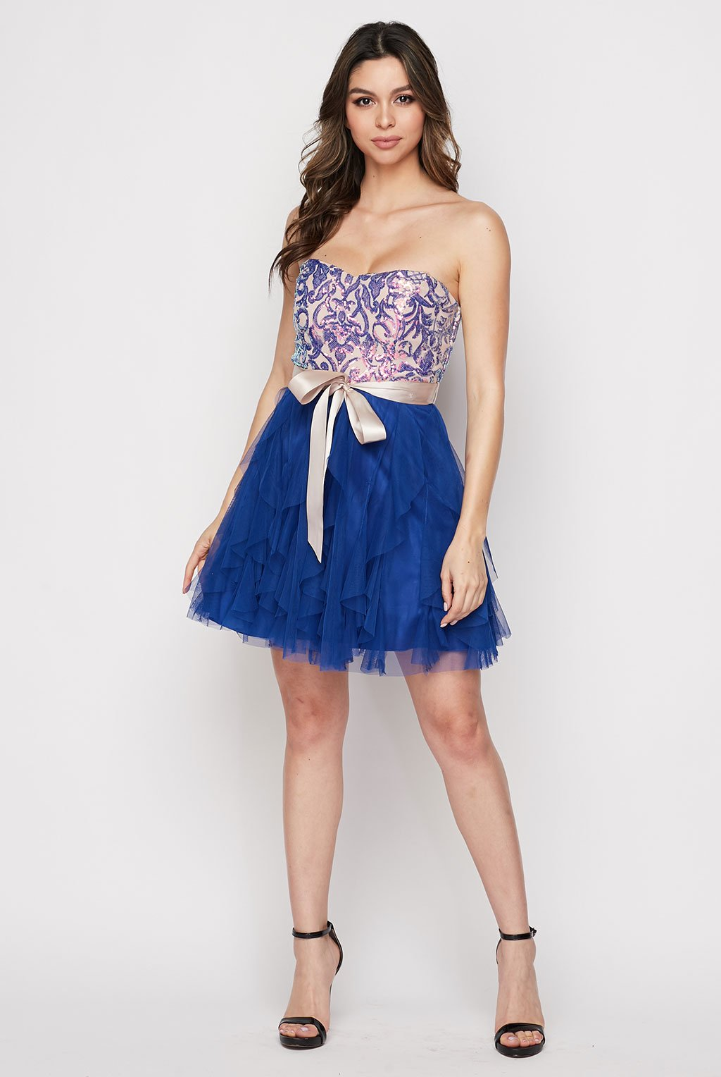 Teeze Me | Strapless Sequin Corkscrew Ruffle Dress | Royal