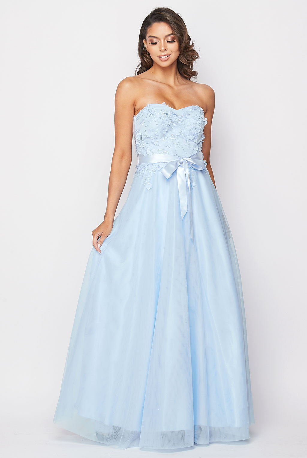 Teeze Me | Strapless 3D Floral Applique Ball Gown | Light Blue