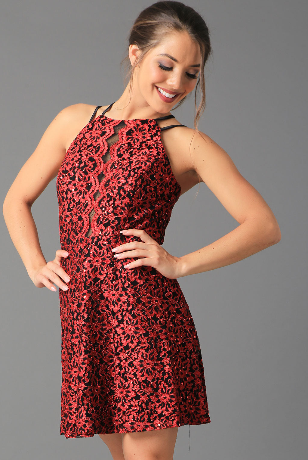 Teeze Me | Strappy Back Sequin Lace Dress  | Red - Teeze Me