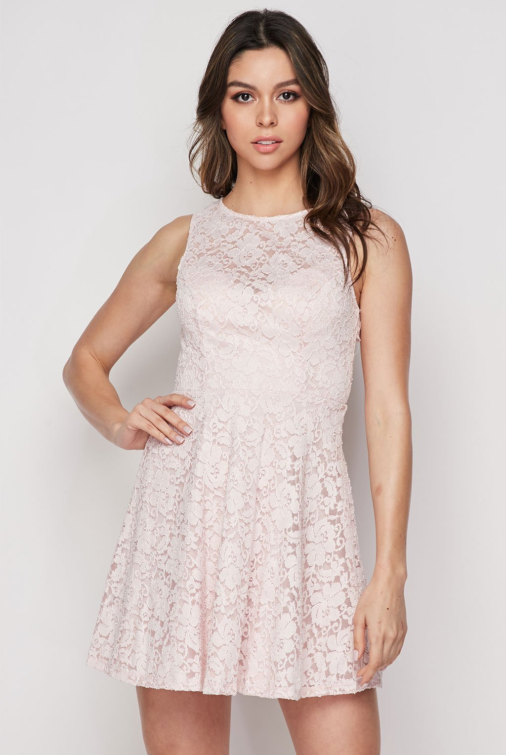 Teeze Me | Lace Fit & Flare Skater Dress | Blush