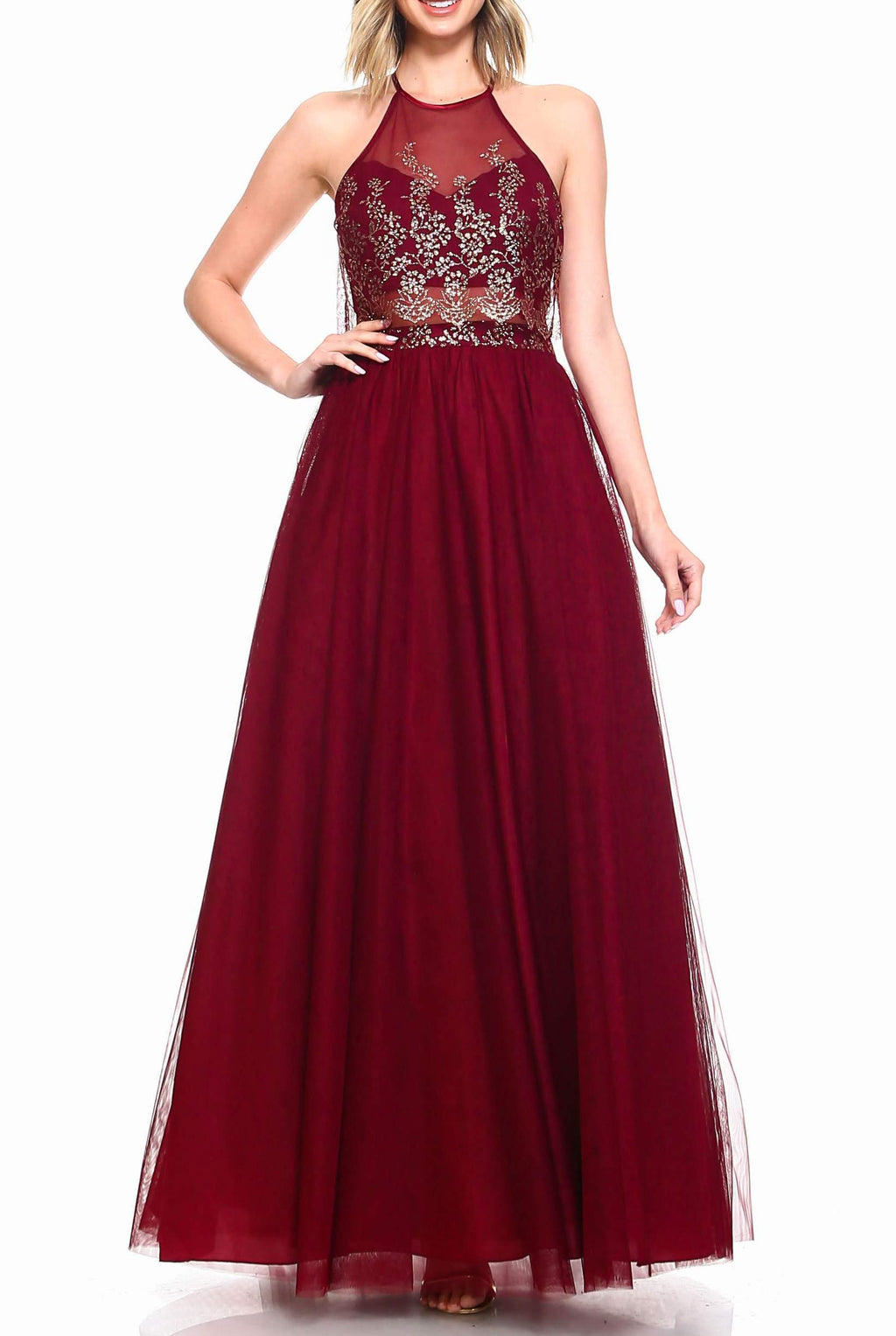 Teeze Me | Sleeveless Halter Glitter Embellished Illusion Popover Top Long Dress | Burgundy/Gold - Teeze Me Juniors Apparel