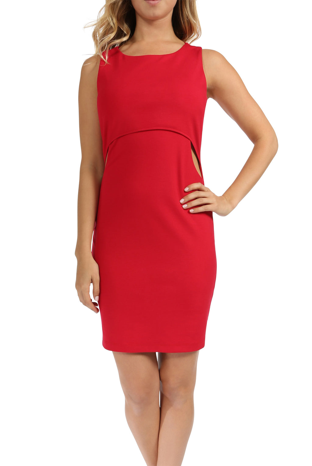 Teeze Me | Sleeveless Scoop Neck Popover Top Cutout Waist Fitted Dress | Red