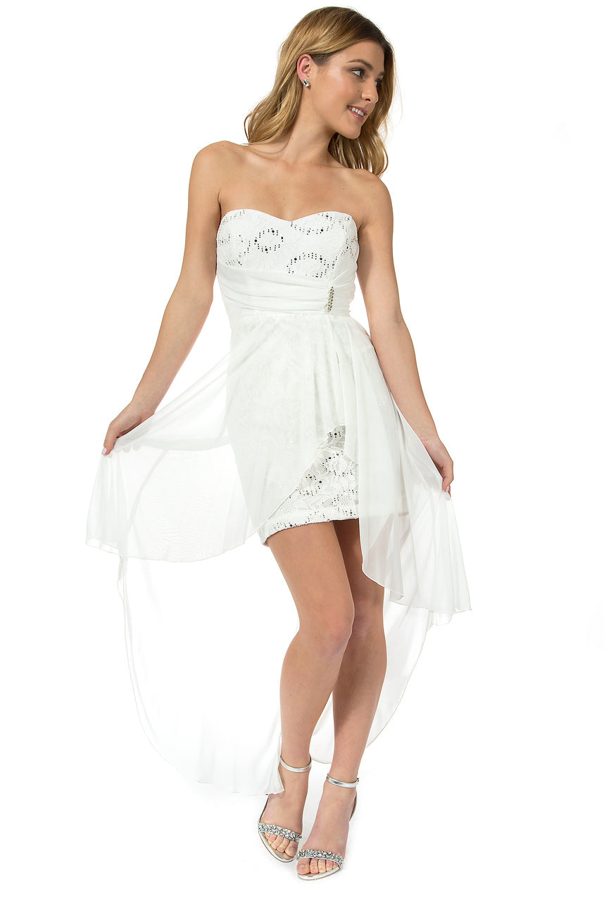 Teeze Me | Strapless Floral Sequin Lace With Brooch High-Low Dress | Off-White - Teeze Me