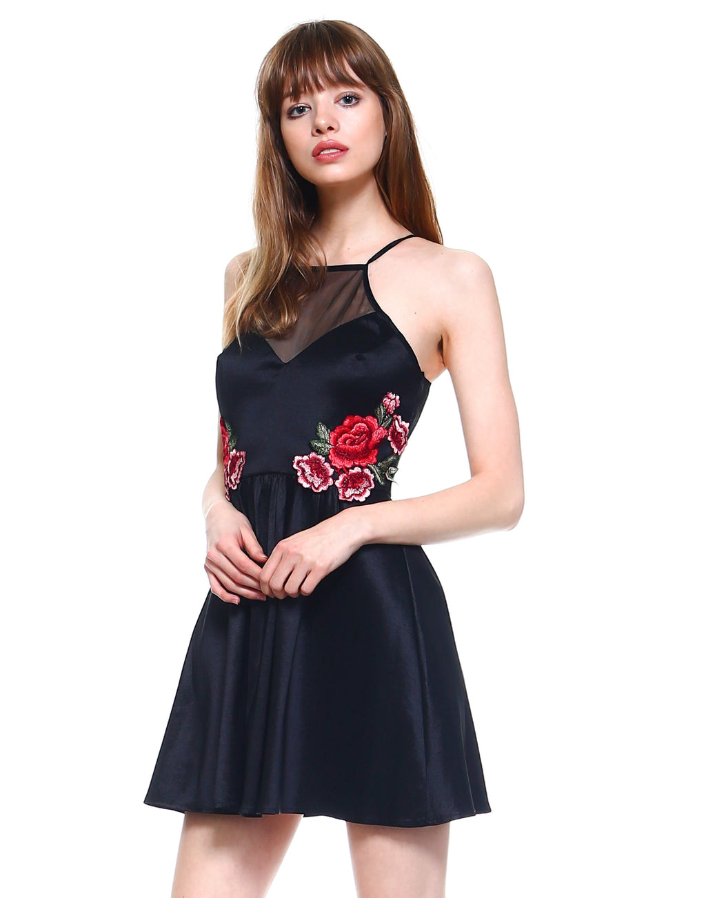 Teeze Me | Halter Illusion Top Floral Applique Side Pleated Party Dress | Black