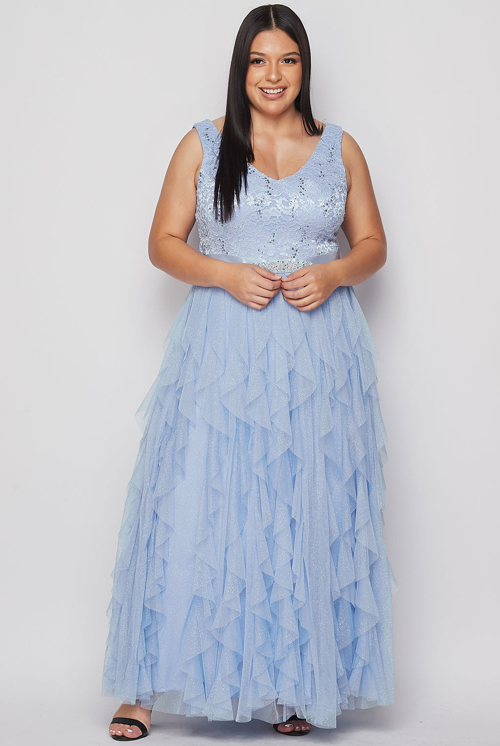 Teeze Me | Sleeveless V-Neck Lace Ball Gown Dress Plus | Blue