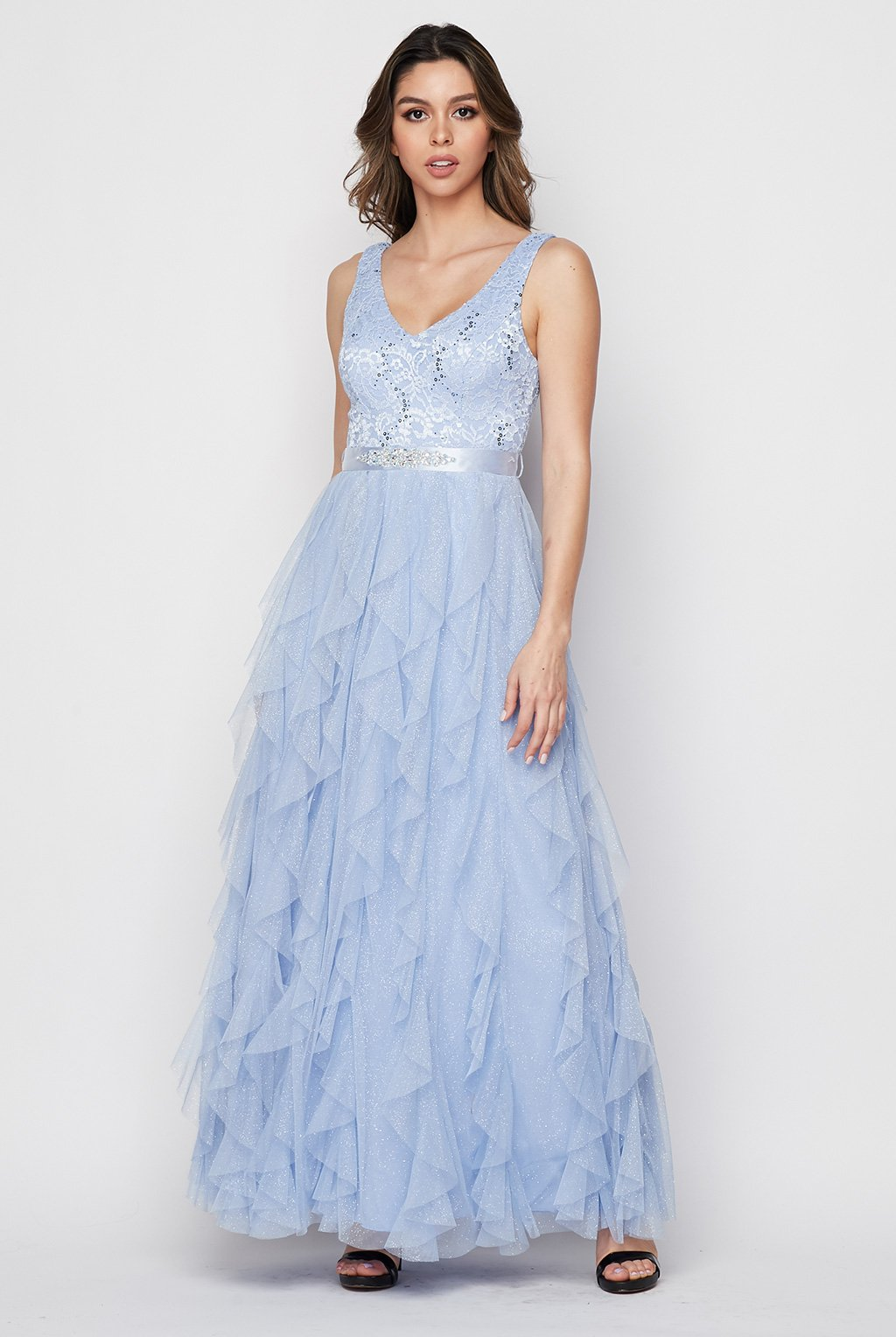 Teeze Me | Lace Bodice Corkscrew Lace Ball Gown | Blue
