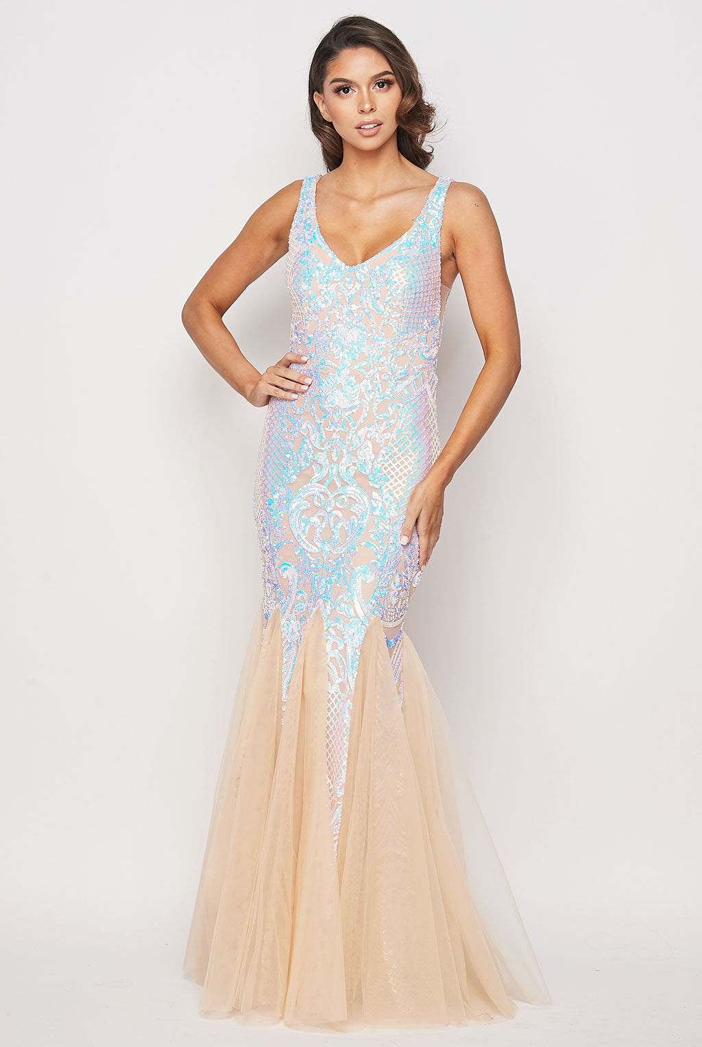 Teeze Me | Multi Color Sequin Mermaid Gown | Nude Multi