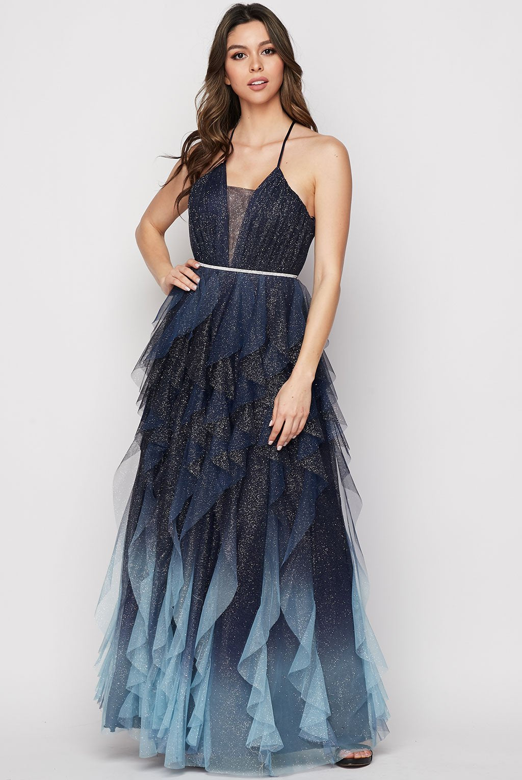 Teeze Me | Glitter Ombre Corkscrew Mesh Gown | Navy/Blue