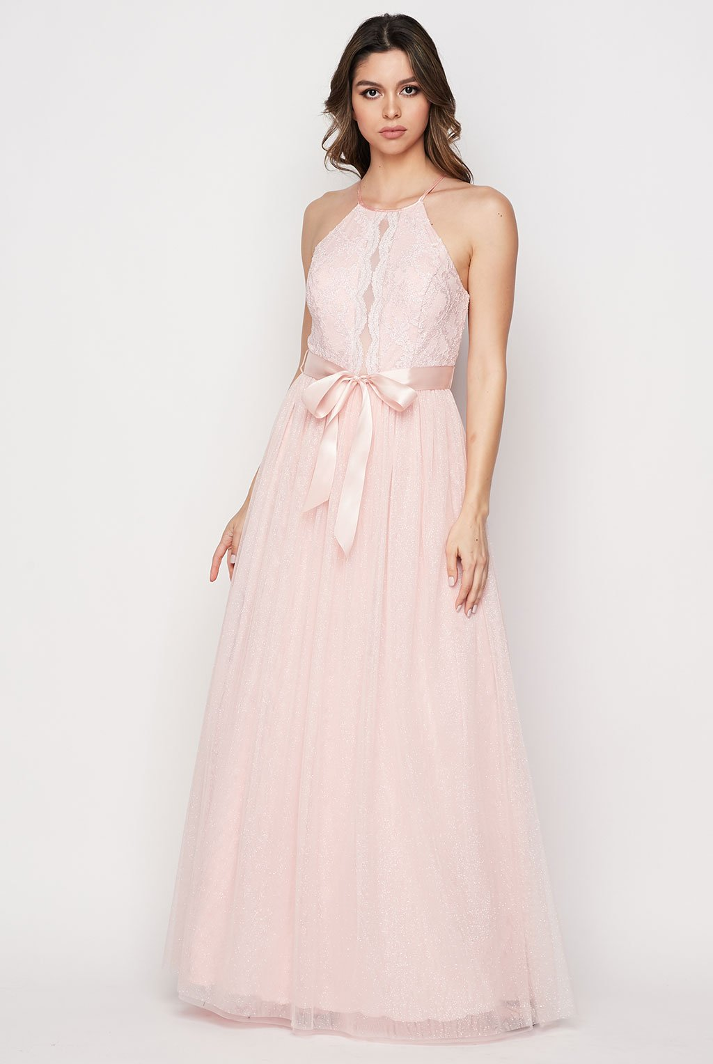 Teeze Me | Halter Scalloped Lace Gown | Blush