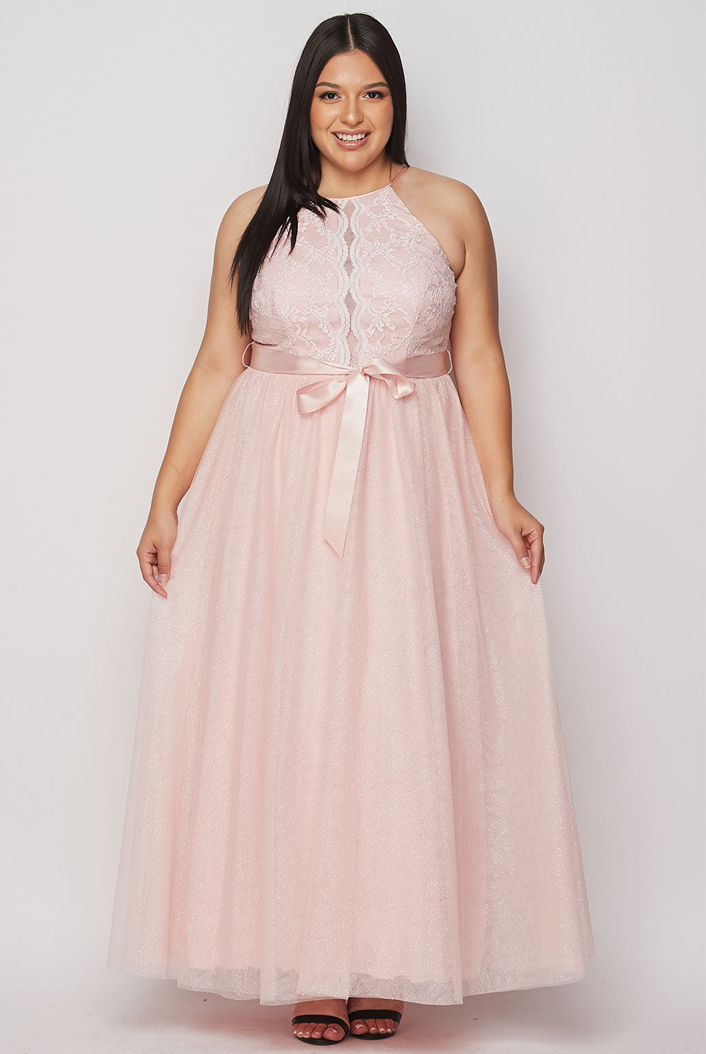 Teeze Me | Halter Top Lace Gown Plus | Blush