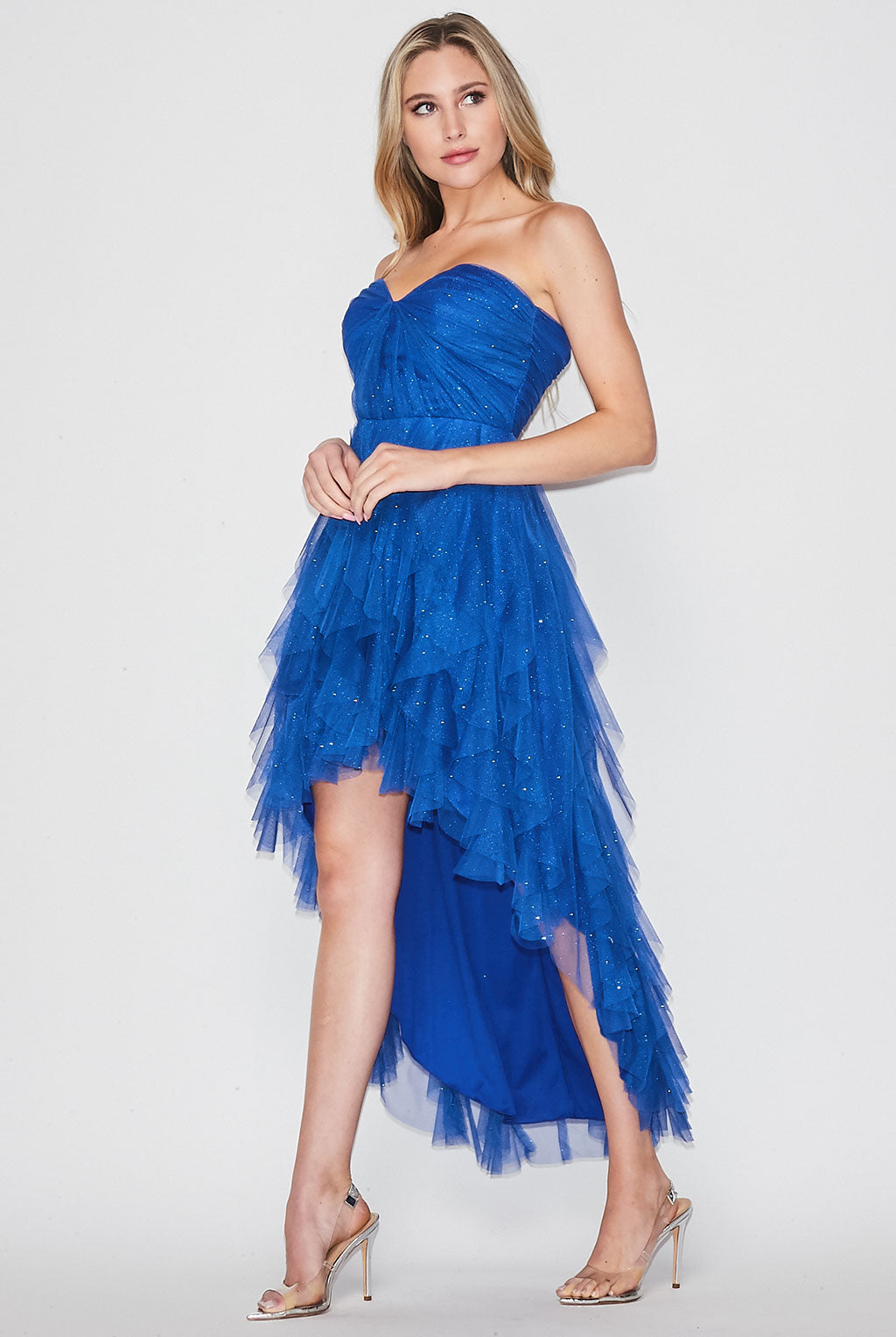 Teeze Me | Strapless Glitter Mesh Petal High Low Prom Dress | Royal