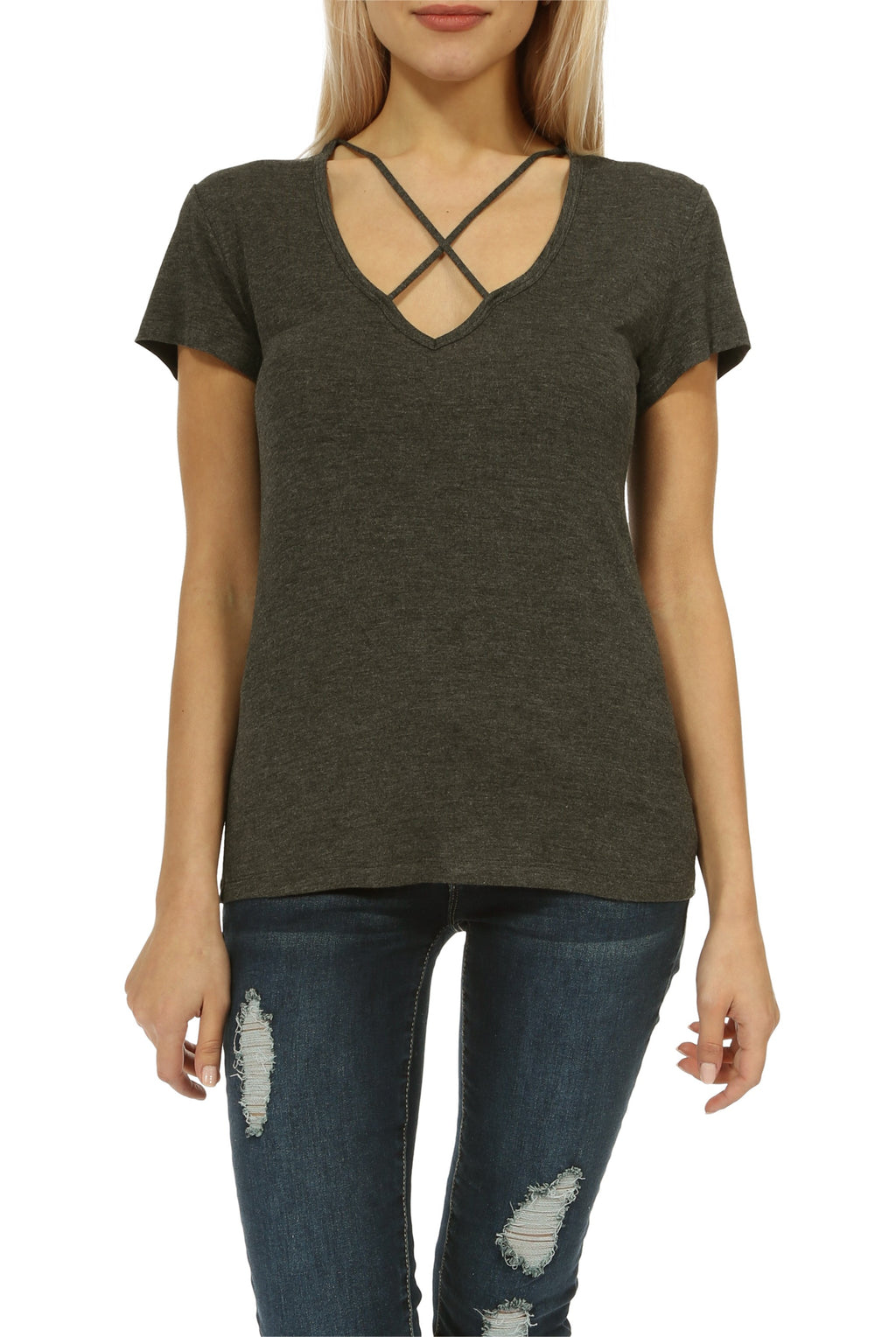 Teeze Me | Short Sleeve V Neck Cross Front Casual Top  | Charcoal - Teeze Me