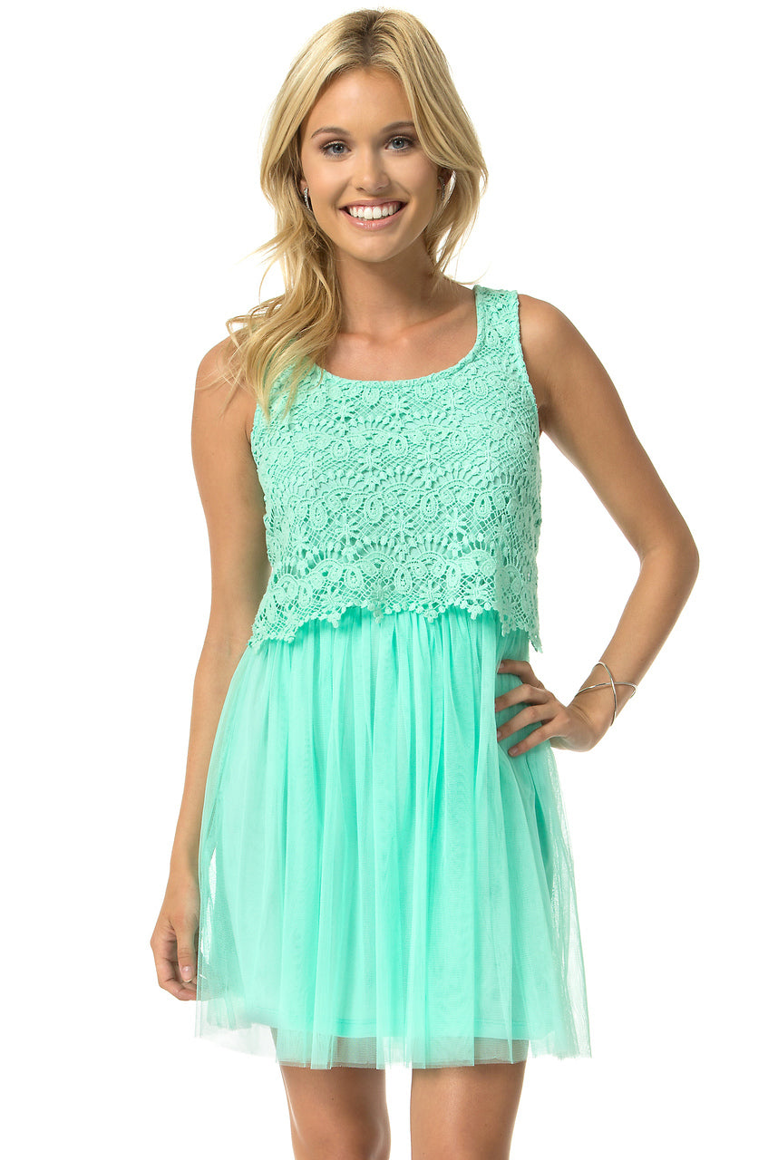 Teeze Me | Sleeveless Crochet Lace Popover Top Dress | Spearmint