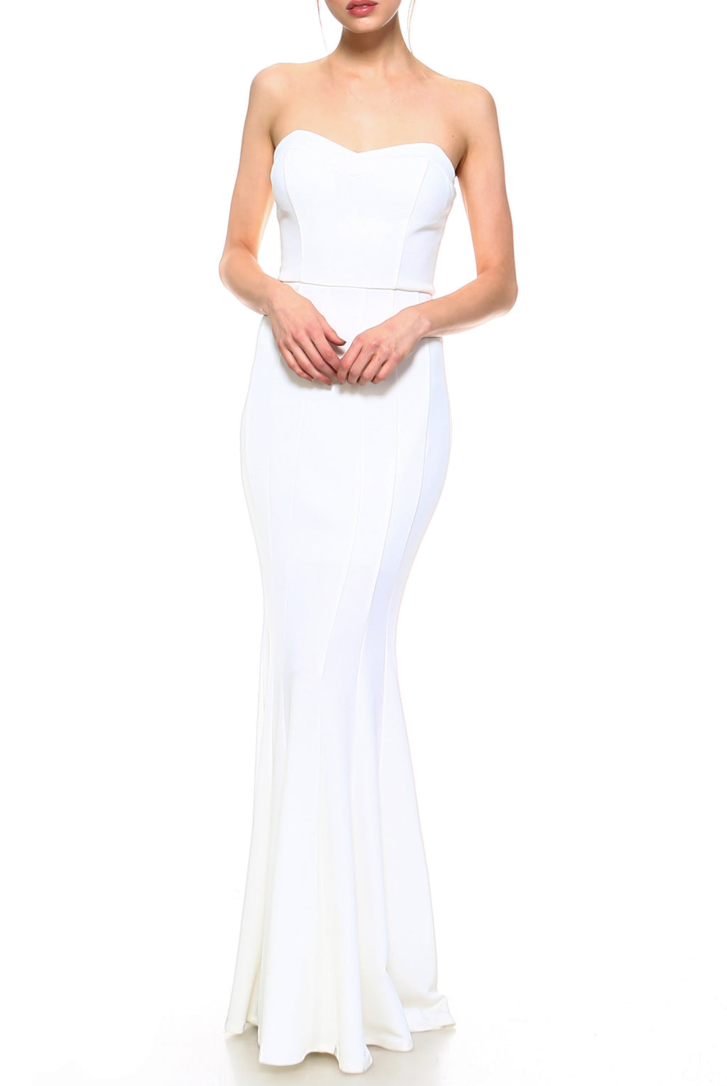 Teeze Me | Strapless Tube Top Trumpet Skirt Long Dress  | Ivory