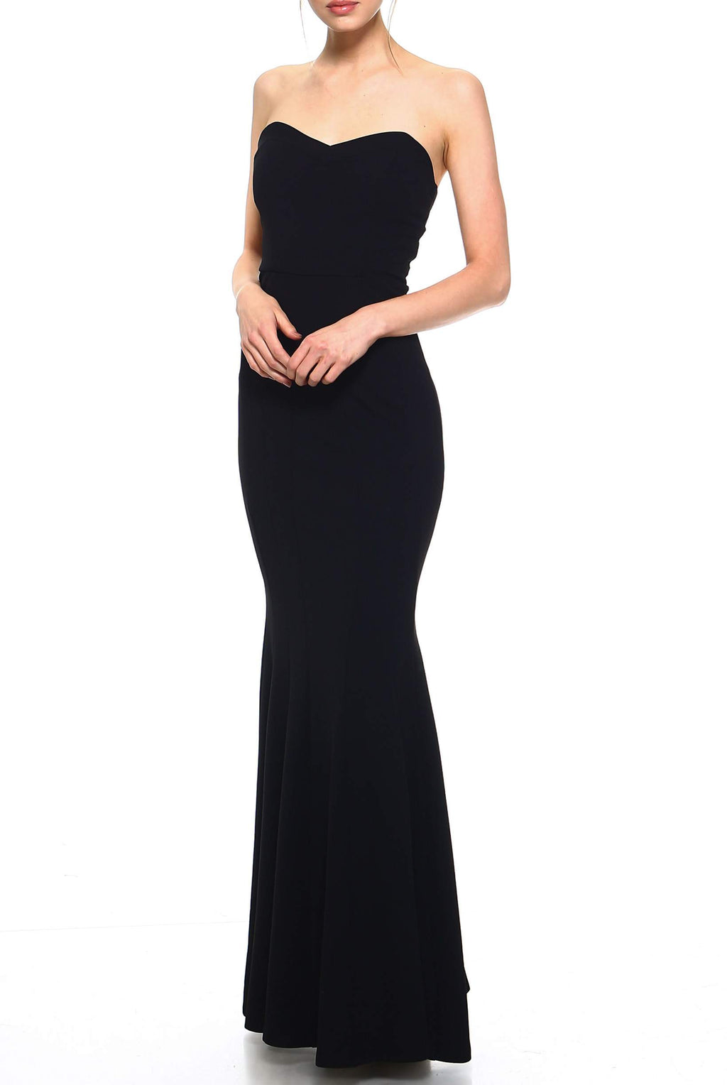 7318a7eb6 Teeze Me | Strapless Tube Top Trumpet Skirt Long Dress | Black | Teeze Me  Juniors