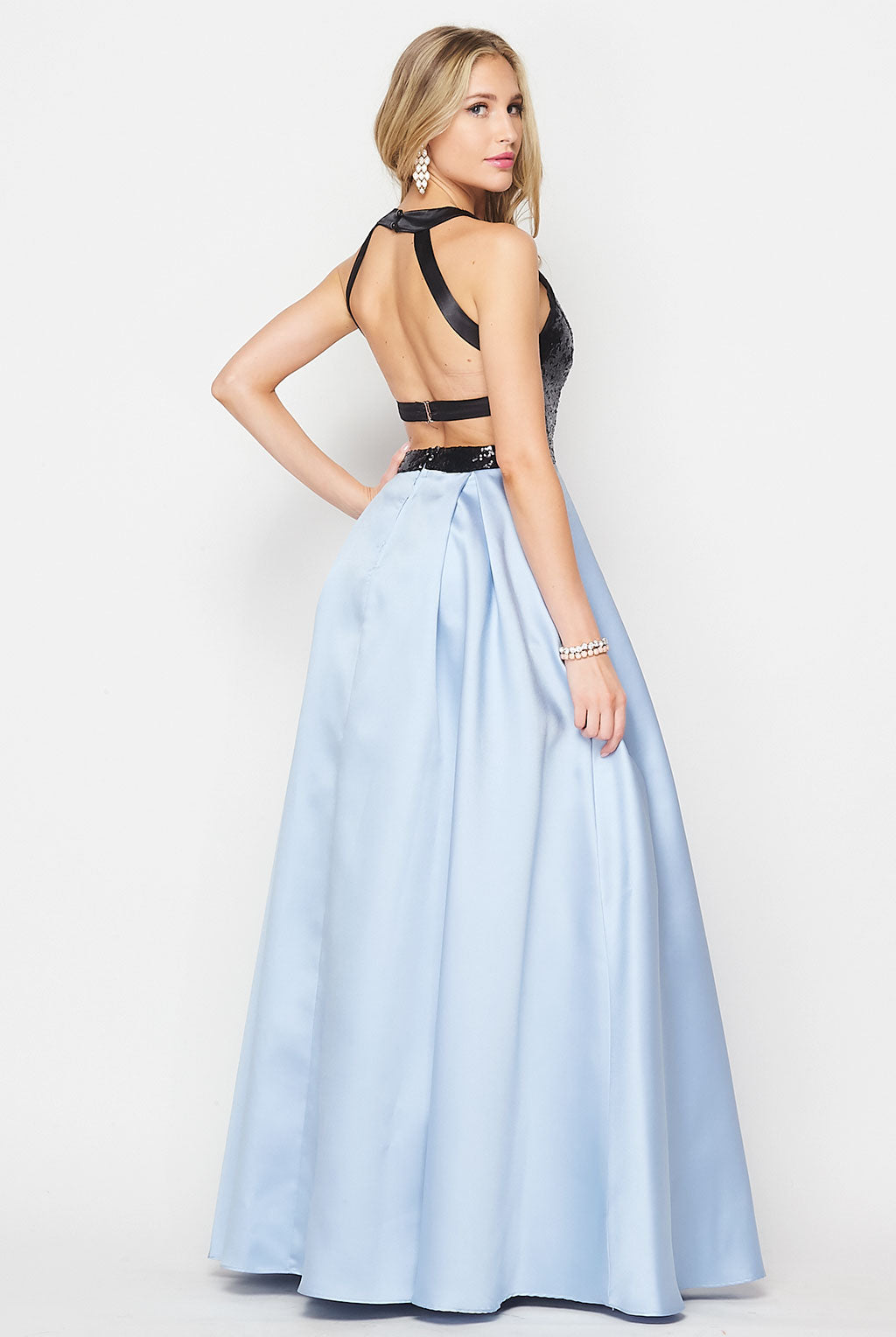 Teeze Me | Sleeveless Open Back Sequin Top Ball Gown | Skyblue/Black