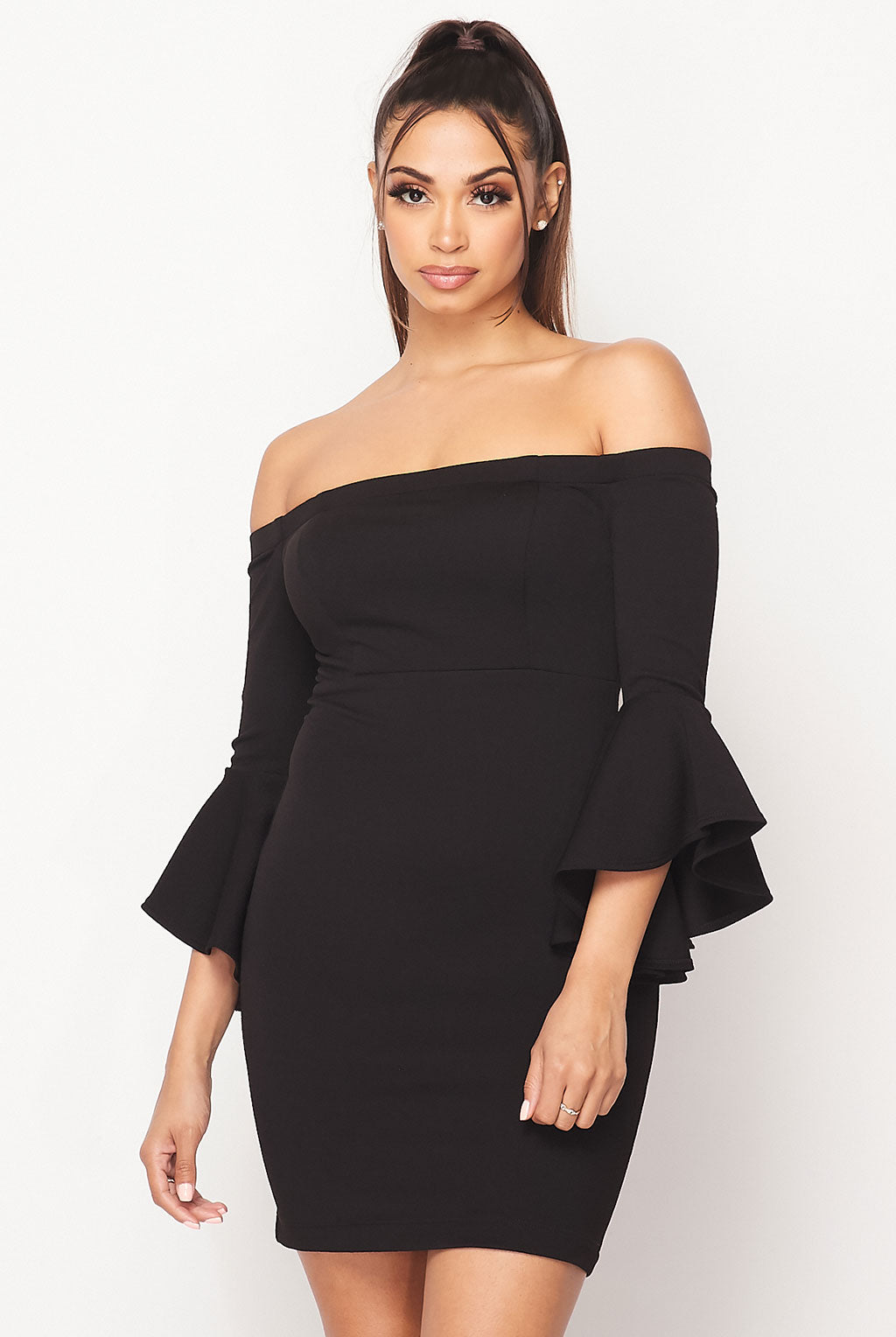 Teeze Me | Off-The-Shoulder Ruffle Sleeve Dress | Black
