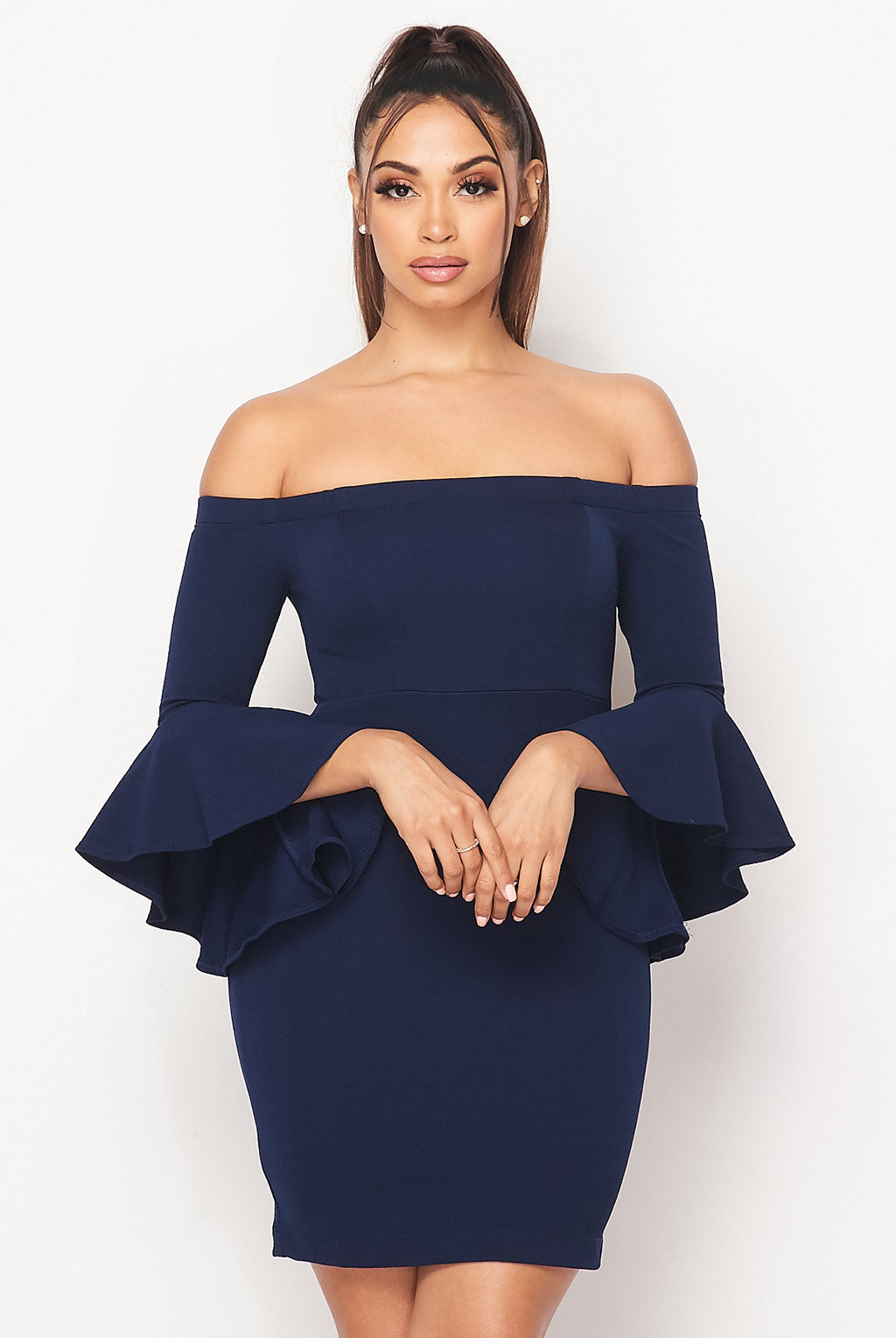 Teeze Me | Off-The-Shoulder Ruffle Sleeve Dress | Navy
