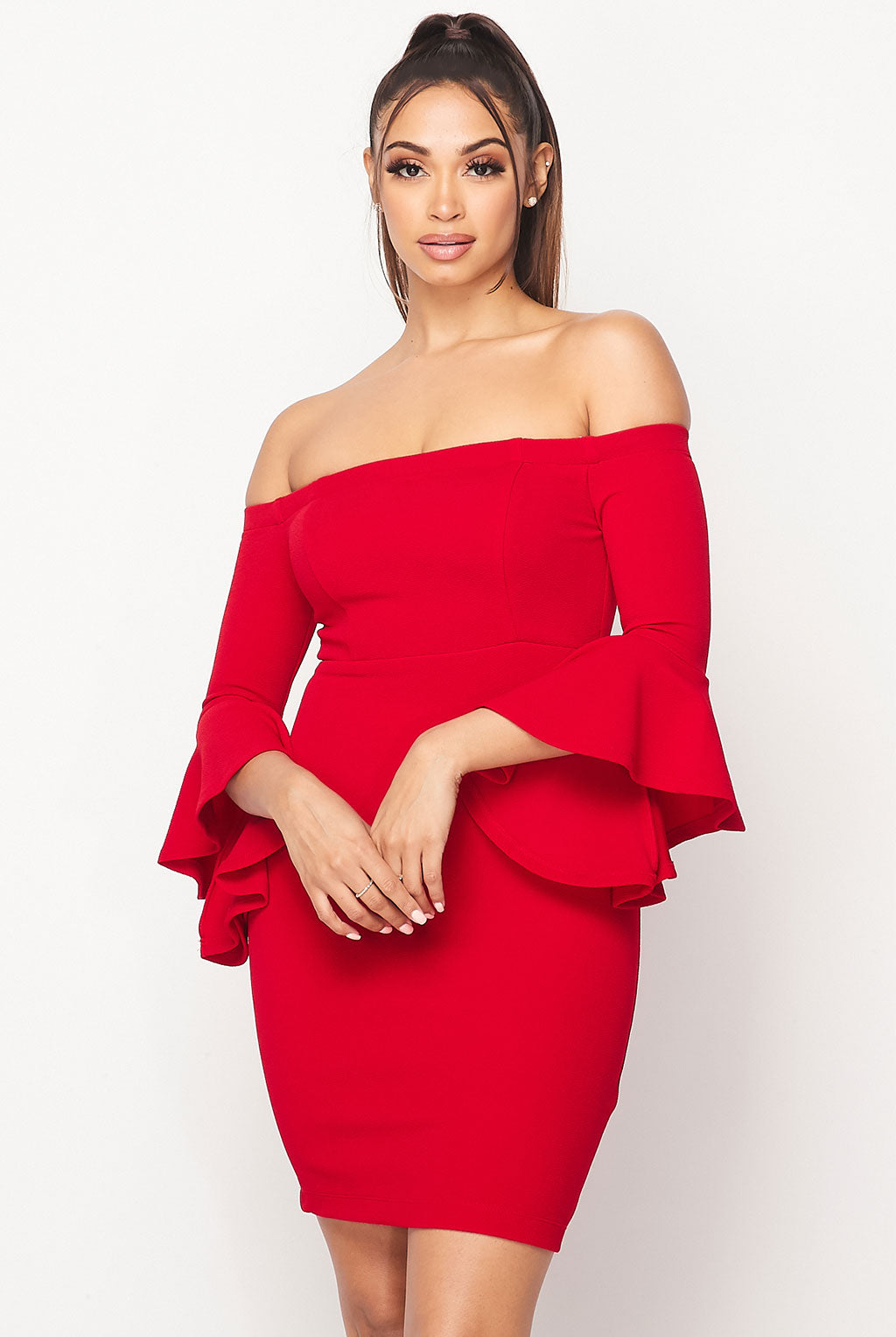 Teeze Me | Off-The-Shoulder Ruffle Sleeve Dress | Red
