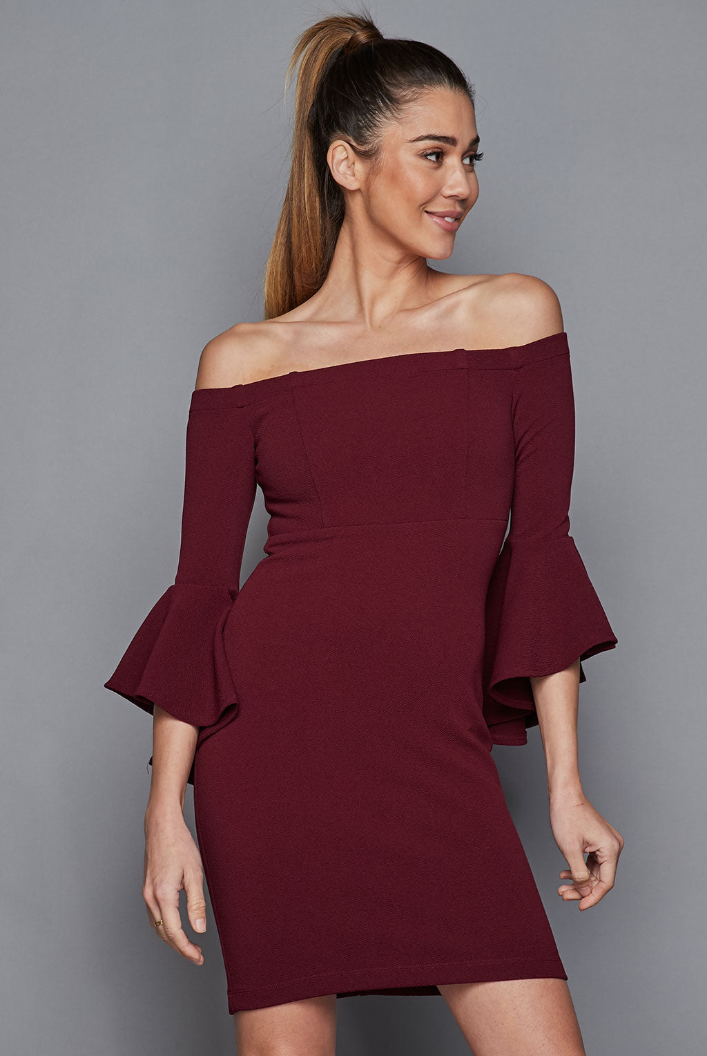 Teeze Me | Off-The-Shoulder Ruffle Sleeve Dress | Burgundy