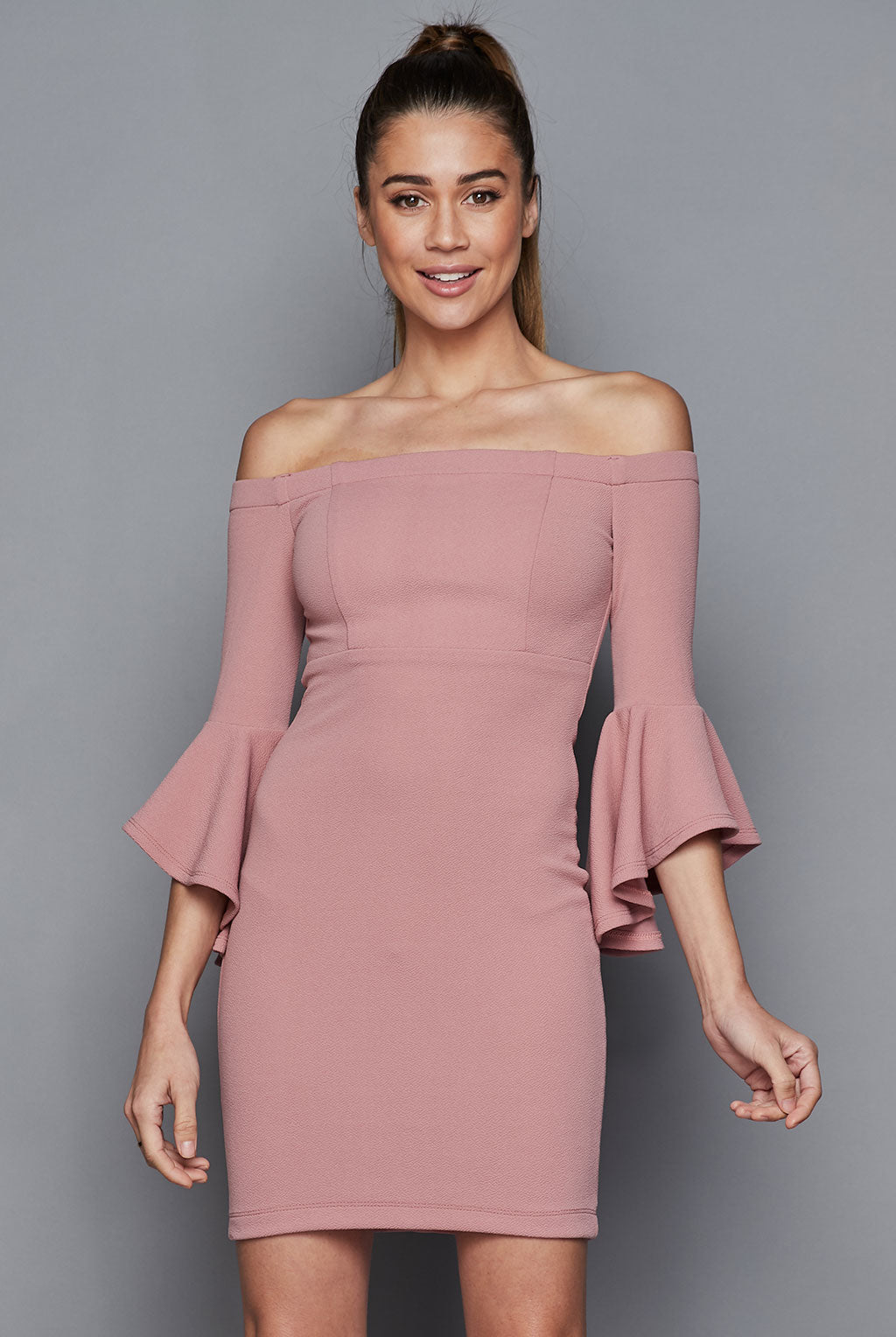 Teeze Me | Off-The-Shoulder Ruffle Sleeve Dress | Mauve