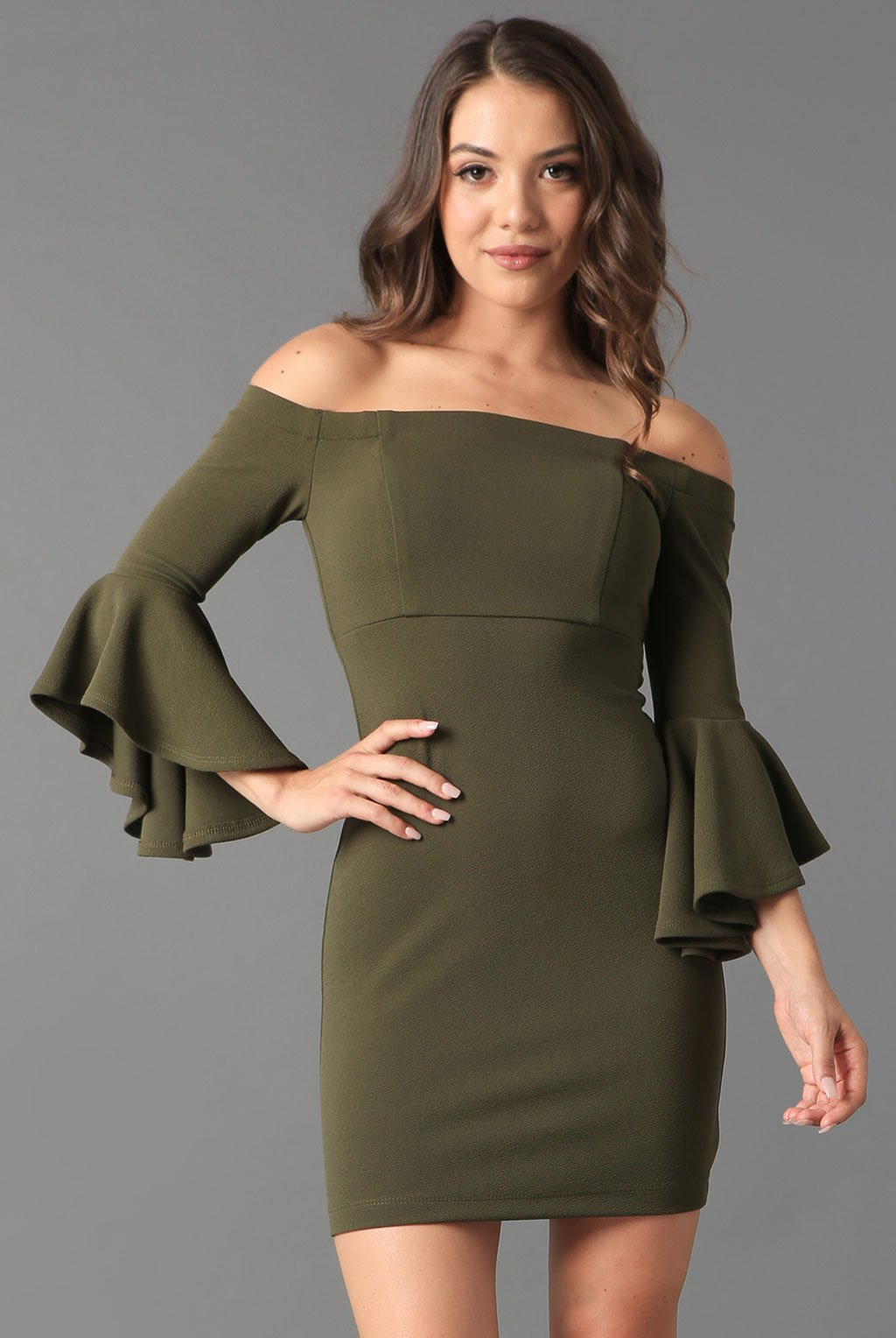 Teeze Me | Off-The-Shoulder Ruffle Sleeve Dress | Olive