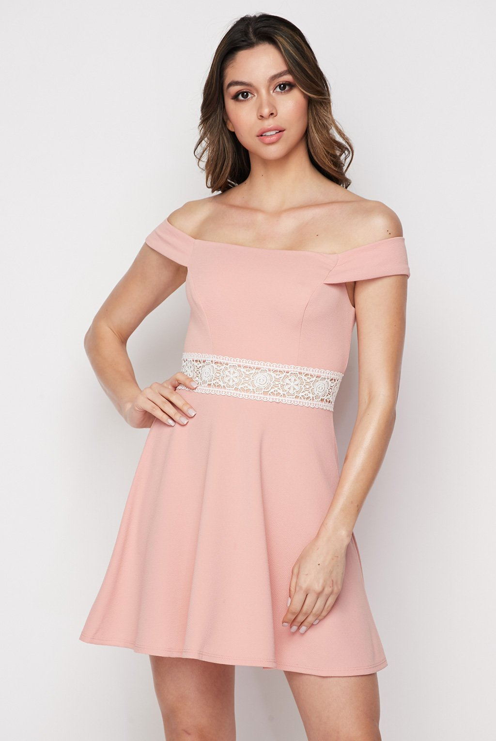 Teeze Me | Off The Shoulder Crochet Waist Skater Dress  | Blush