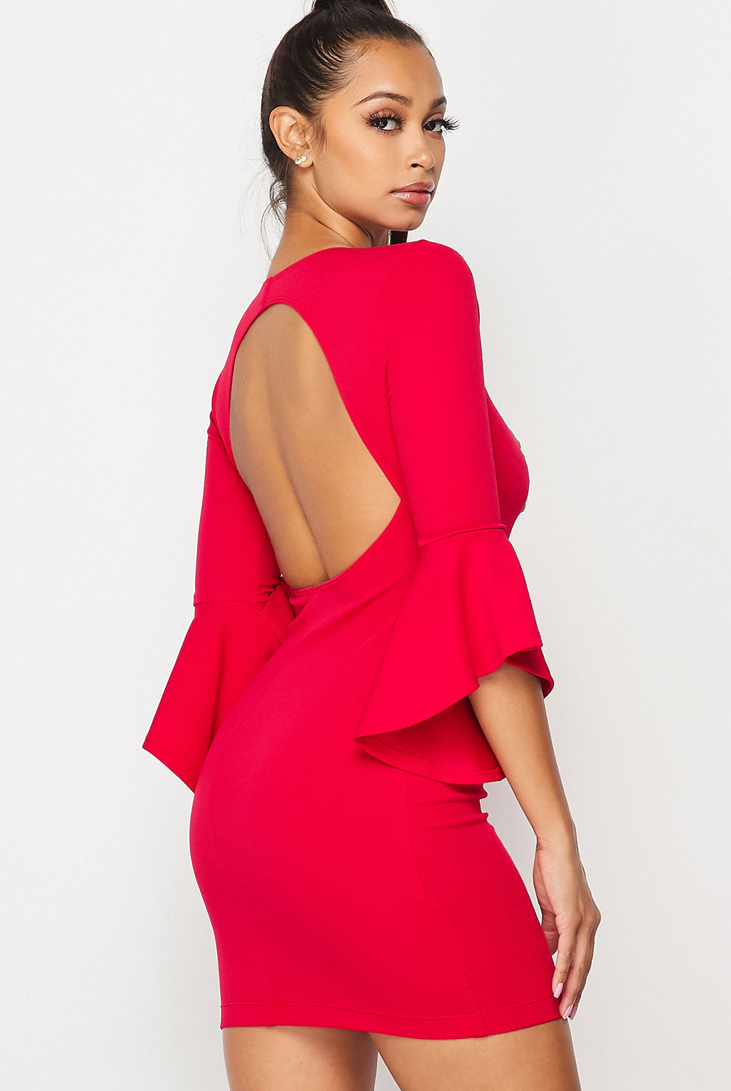 Teeze Me | Ruffle Sleeve Open Back Dress | Berry