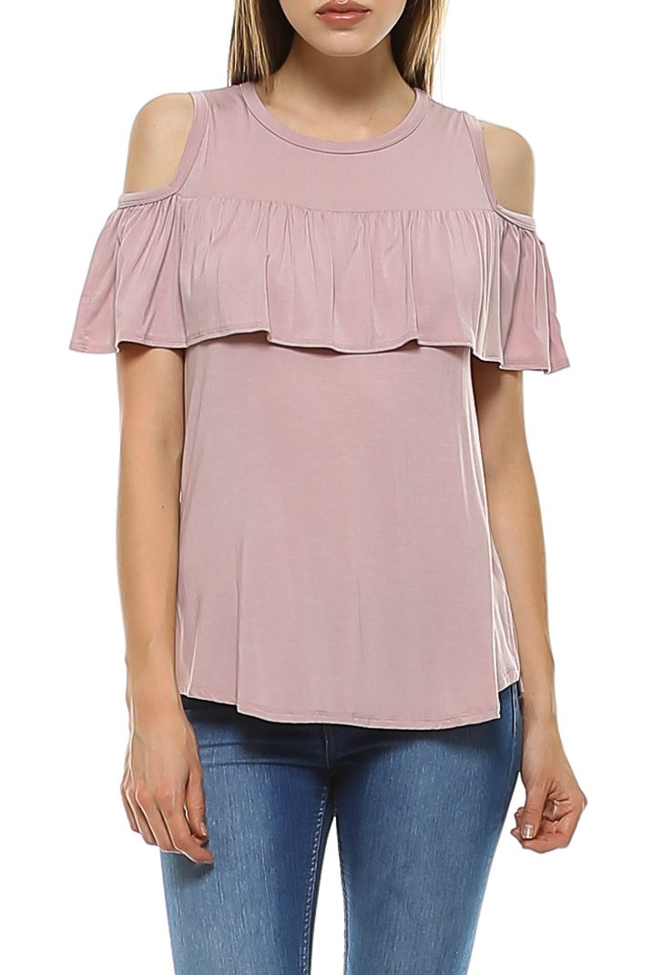 Teeze Me | Short Sleeve Cold Shoulder Ruffle Blouse Top | Dusty Blush