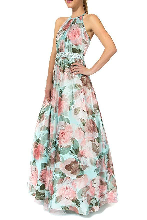 Teeze Me | Sleeveless Halter Illusion Top Floral Long Dress | Aqua/Floral