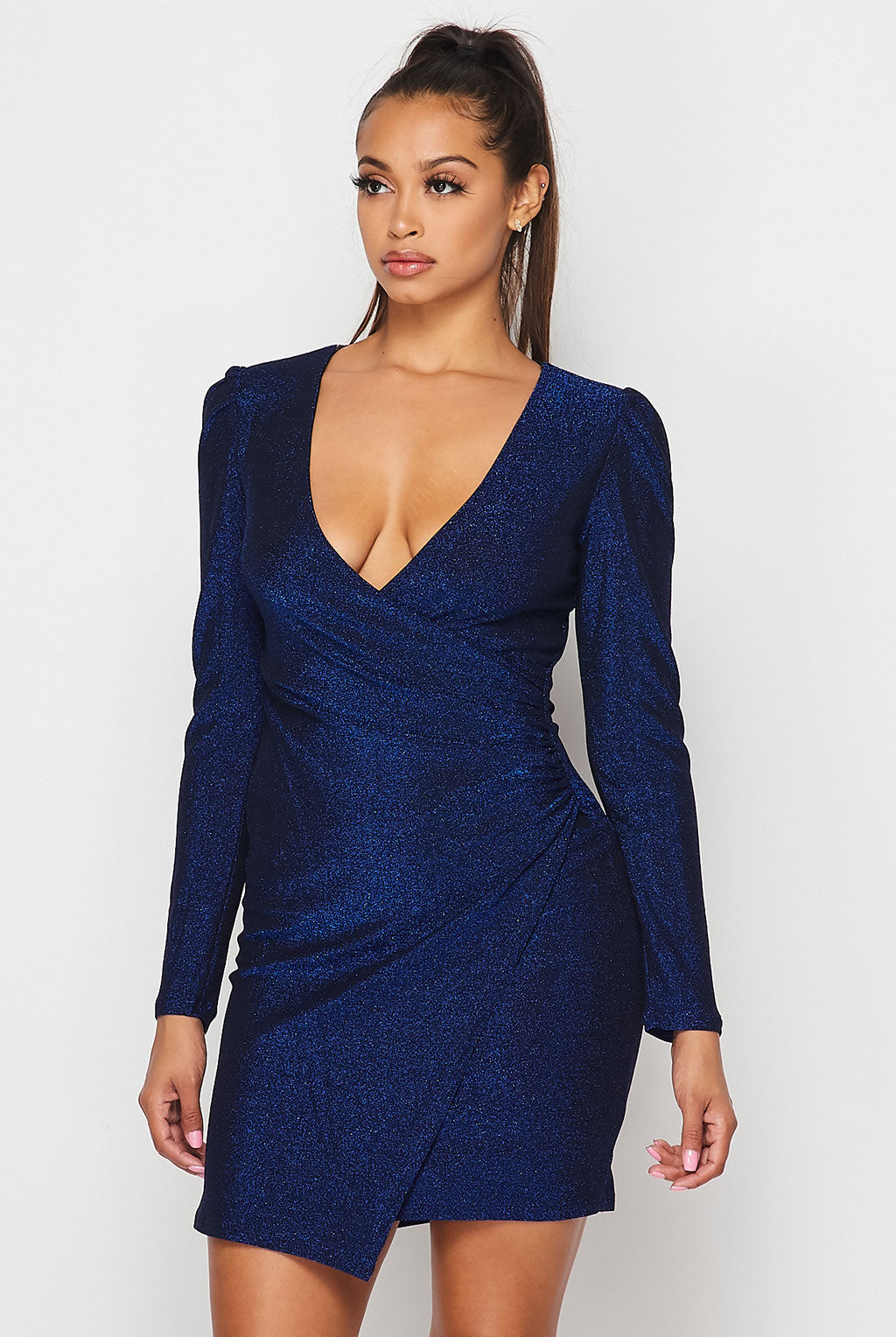 Teeze Me | Long Sleeve V Neck Metallic Short Dress | Royal/Black