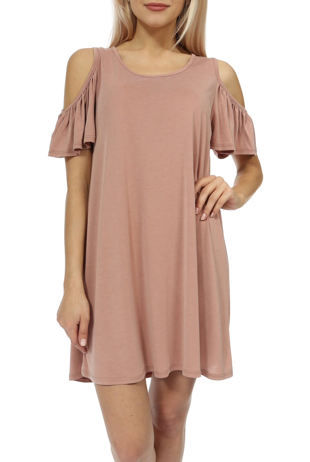 Teeze Me | Short Sleeve Scoop Neck Cold Shoulder Swing T-Shirt Dress | Blush