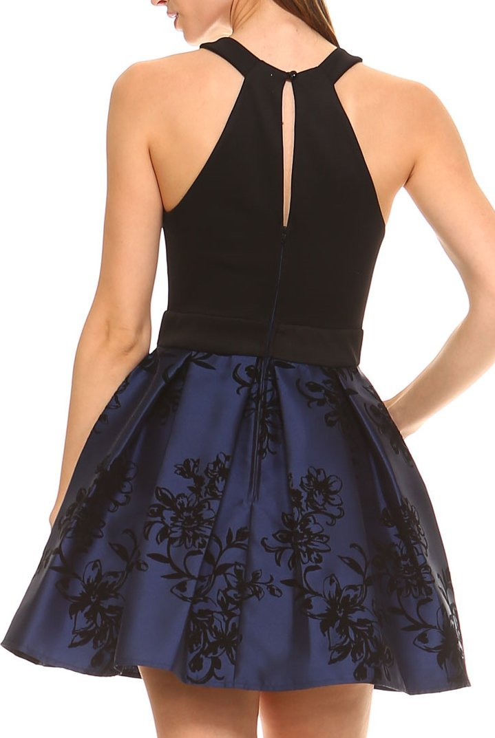 Teeze Me | Sleeveless Halter Floral Flocked Pleated Dress  | Black/Indigo