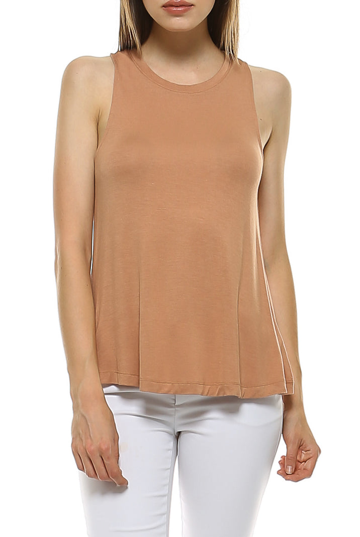 Teeze Me | Sleeveless Crew Neck Loose Fit Tank Top | Apricot