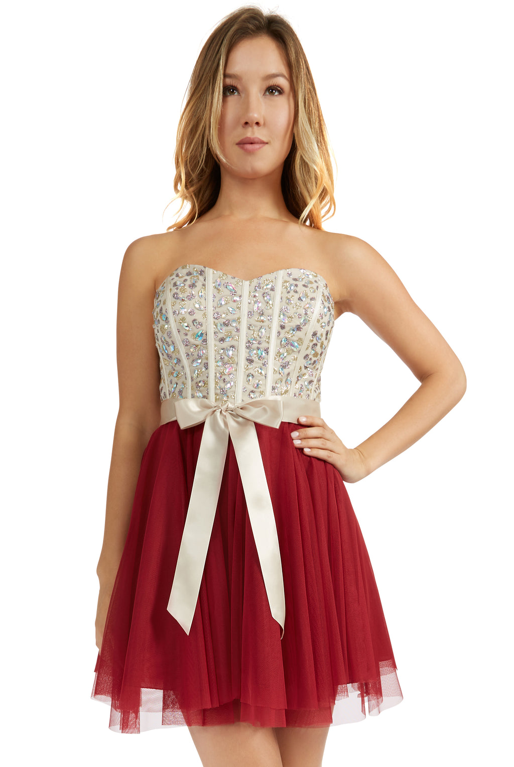 Teeze Me | Queen Colleen Strapless Corset Jewel Beaded Full Tulle Skirt Party Dress | Champagne/Burgundy - Teeze Me