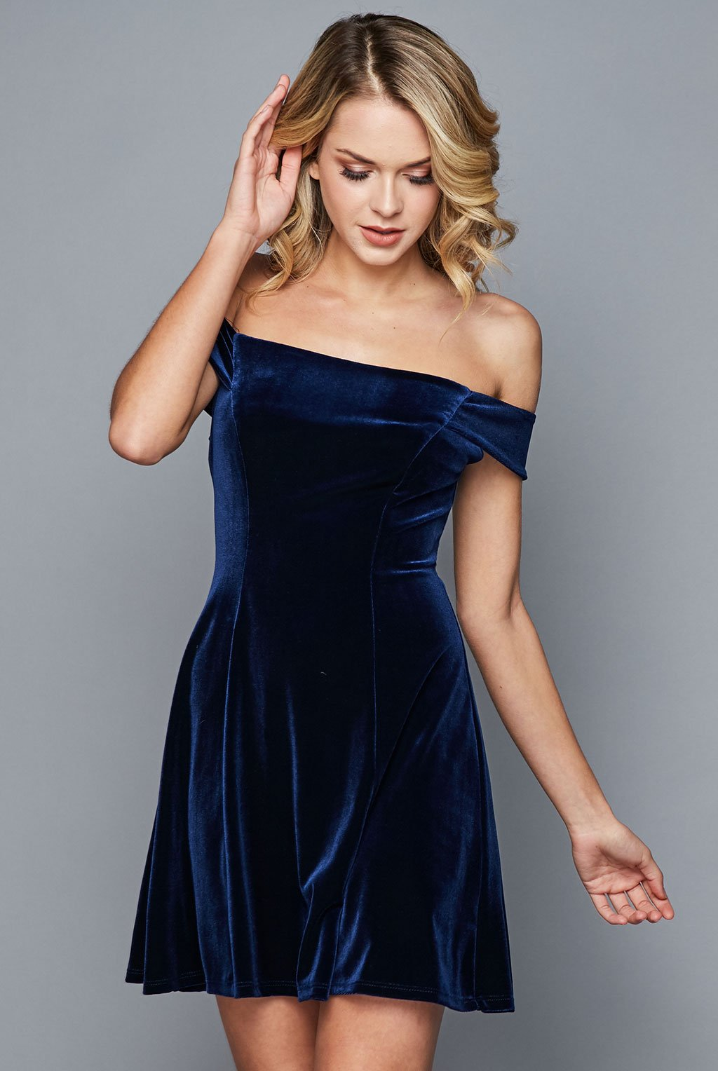 Teeze Me | Velvet Off-The-Shoulder Skater Dress | Navy | Teeze Me Juniors Apparel