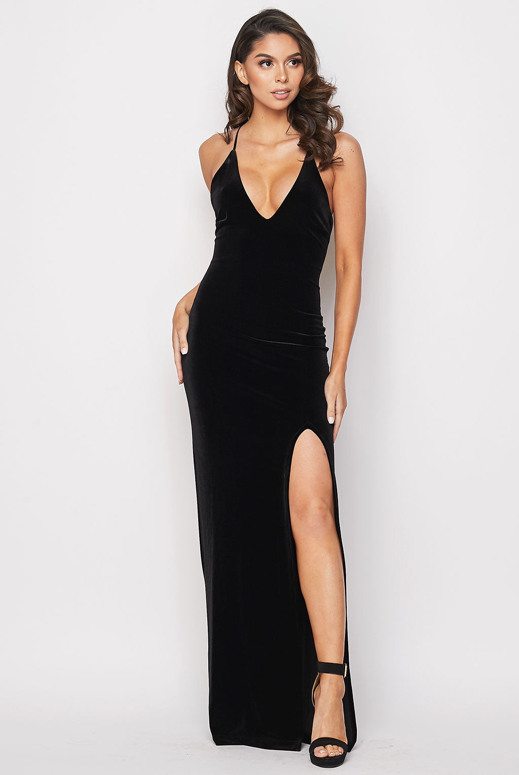 Teeze Me | Deep V Neck Velvet Long Dress | Black