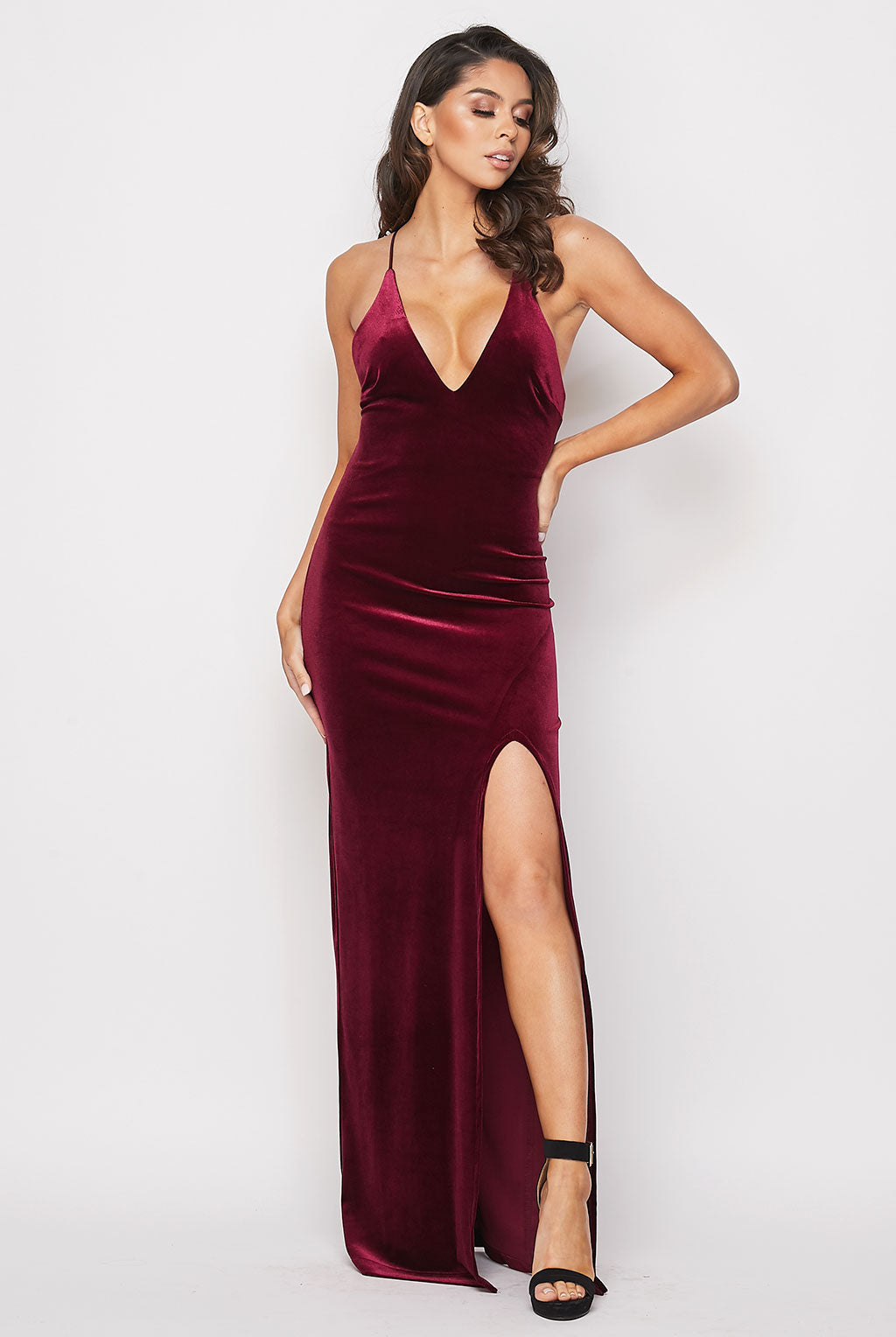 Teeze Me | Deep V Neck Velvet Long Dress | Burgundy