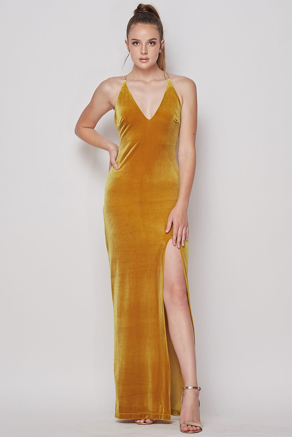 Teeze Me | Deep V Neck Velvet Long Dress | Gold