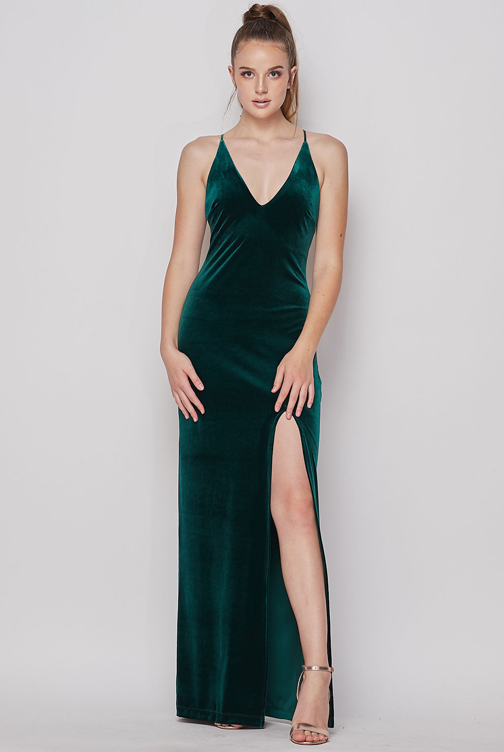 Teeze Me | Deep V Neck Velvet Long Dress | Hunter Green