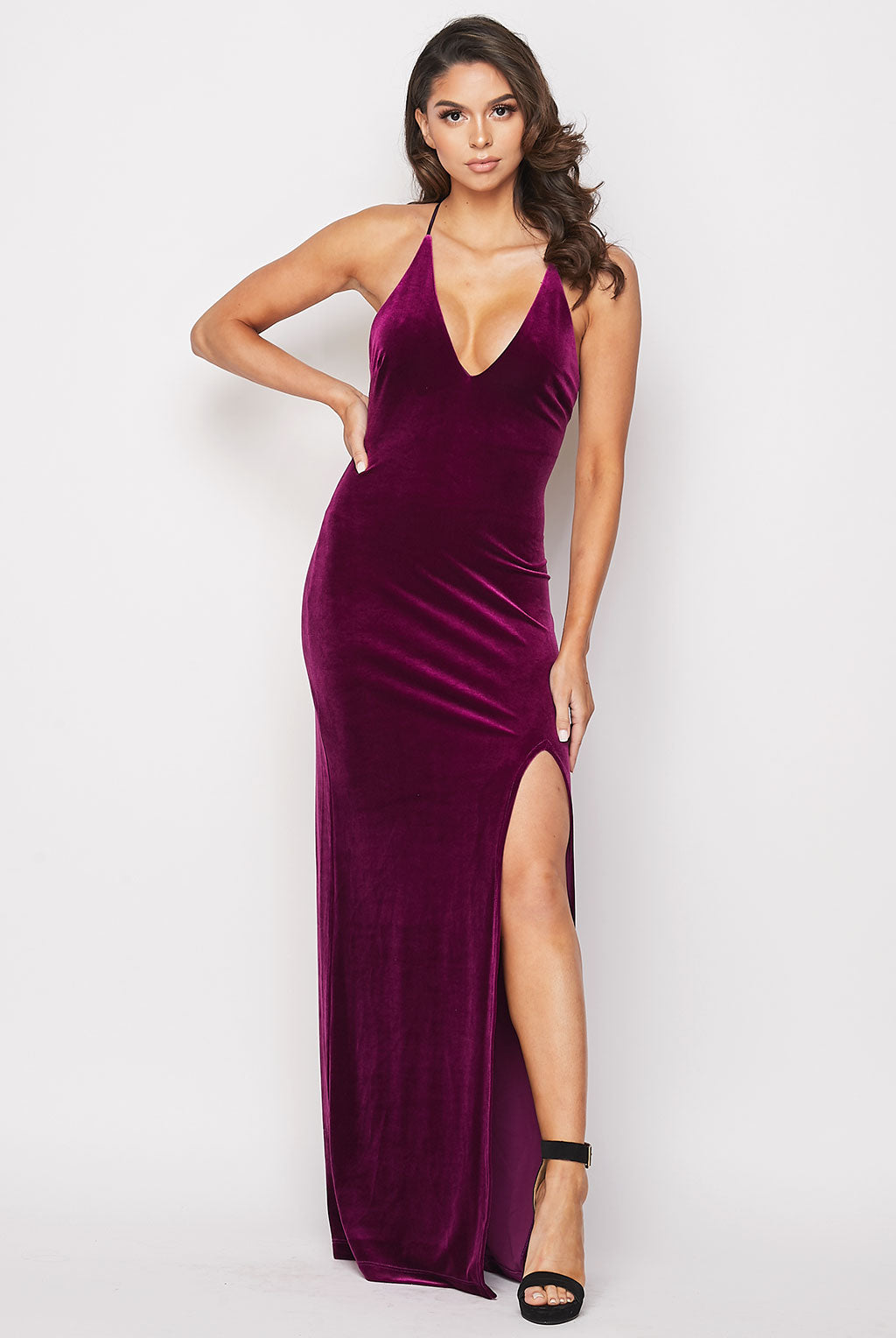 Teeze Me | Deep V Neck Velvet Long Dress | Magenta
