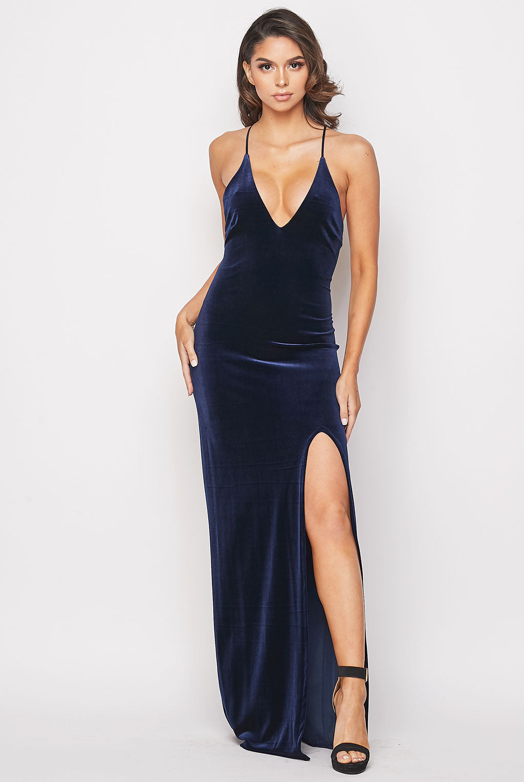 Teeze Me | Deep V Neck Velvet Long Dress | Navy