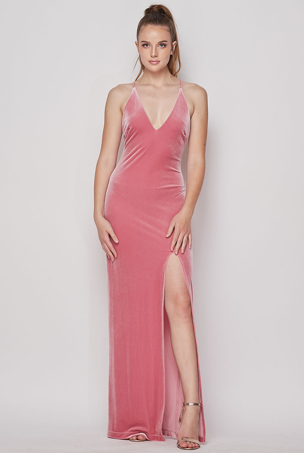 Teeze Me | Deep V Neck Velvet Long Dress | Rose