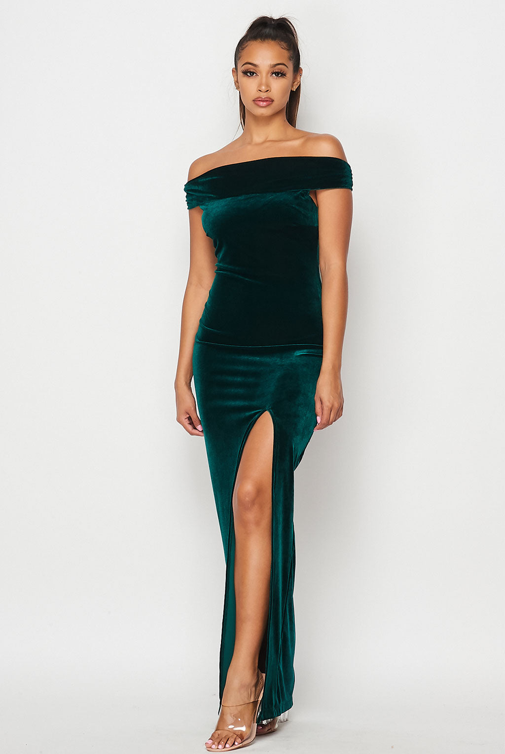 Teeze Me | Off the Shoulder Velvet Column Gown With Slit | Emerald