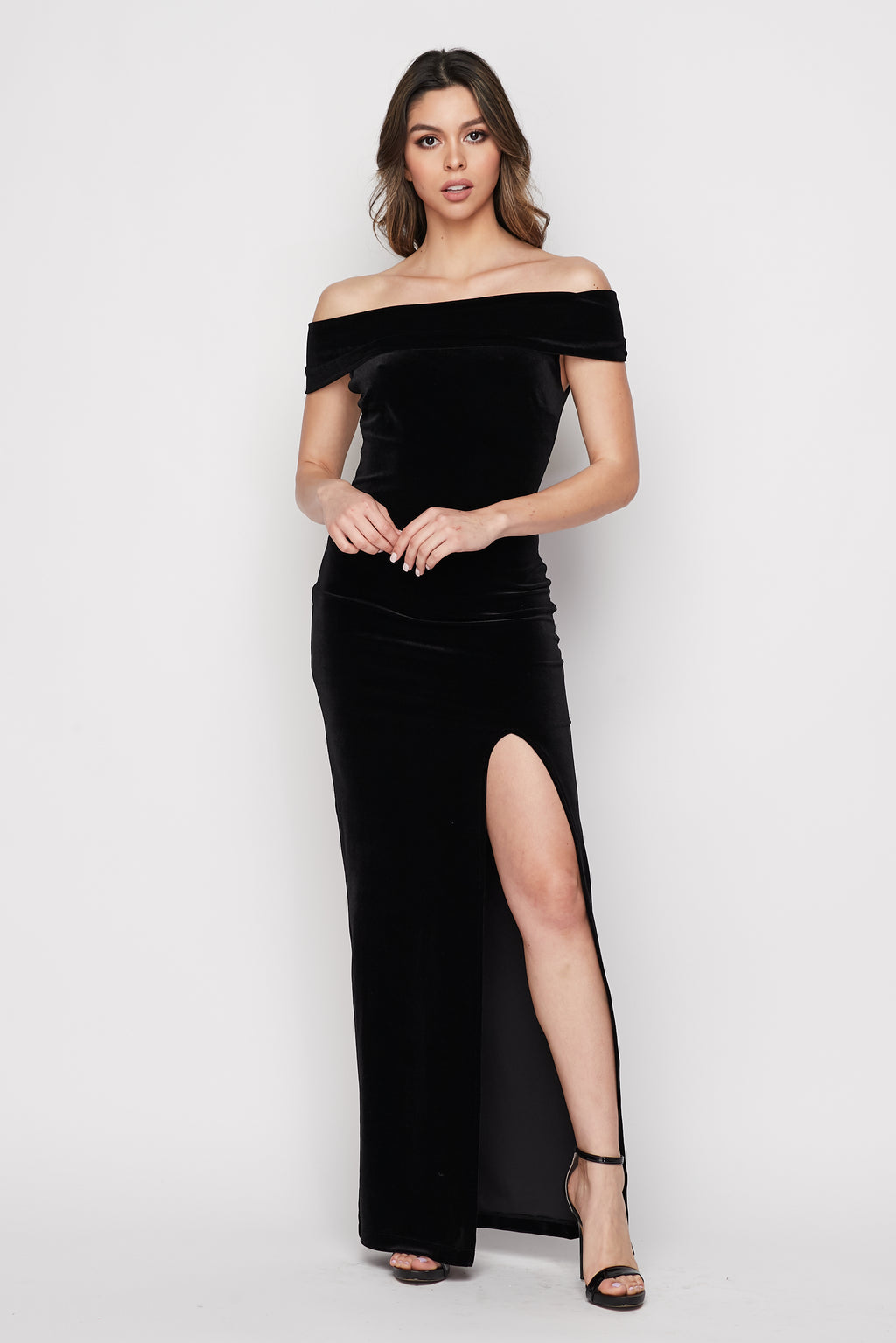 Teeze Me | Off the Shoulder Velvet Column Gown With Slit |